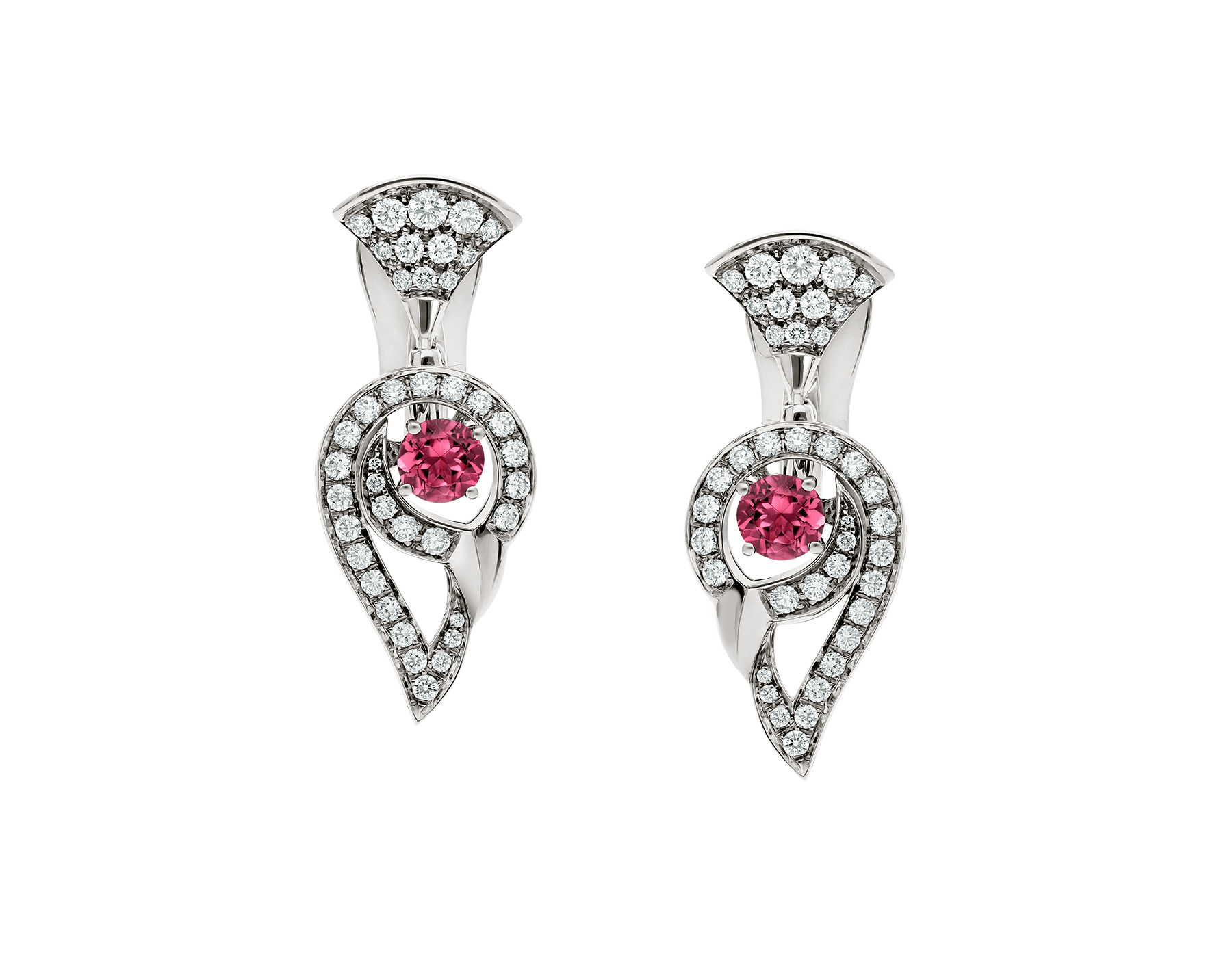 DIVAS' DREAM earrings in 18 kt white gold set with pink rubellite (0.75 ct) and pavé diamonds (1.10 ct). 354082 image 1