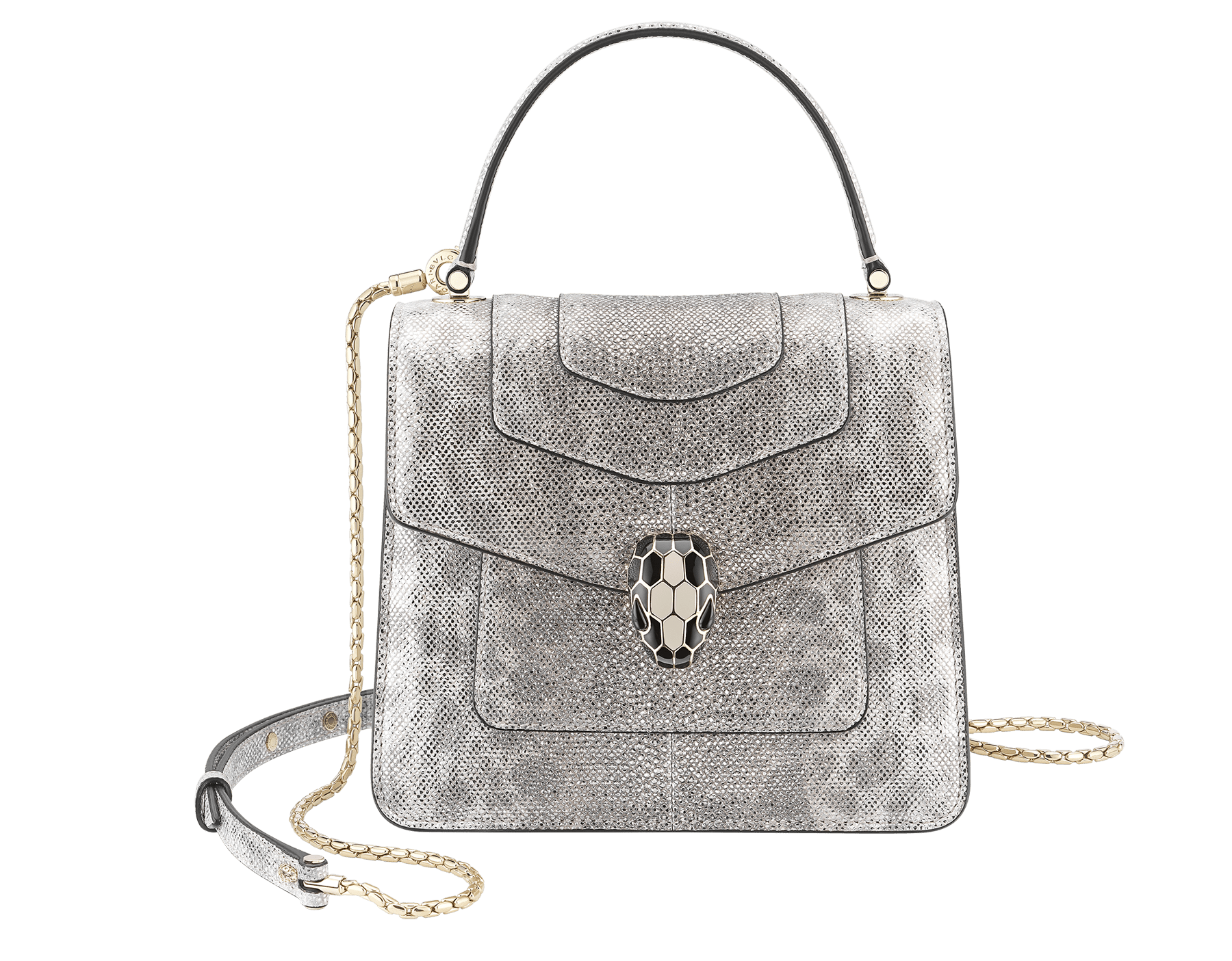 """Serpenti Forever "" crossbody bag in white agate metallic karung skin. Iconic snakehead closure in light gold plated brass enriched with black and white agate enamel and black onyx eyes. 288862 image 1"