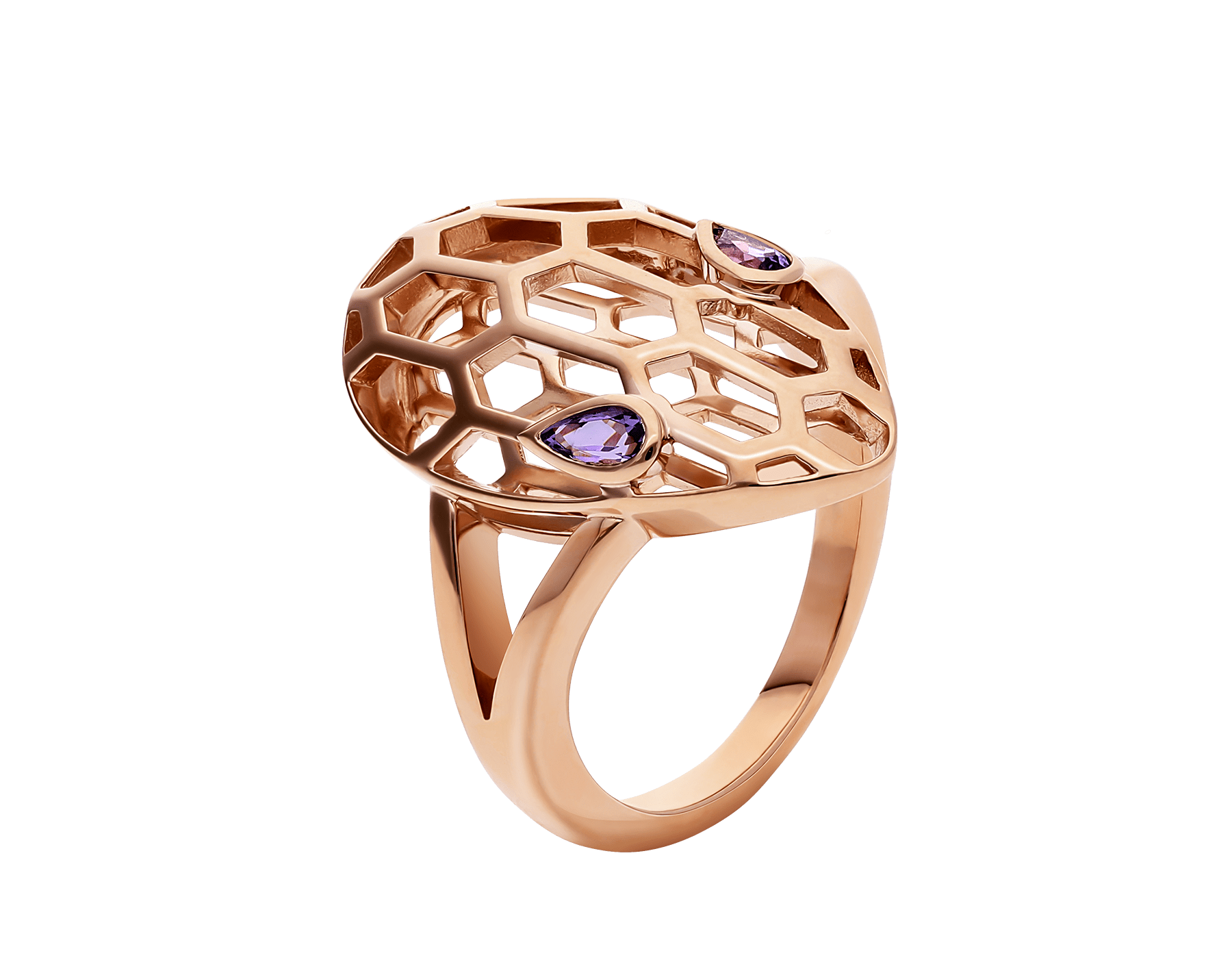 Serpenti ring in 18 kt rose gold, set with amethyst eyes. AN857656 image 1