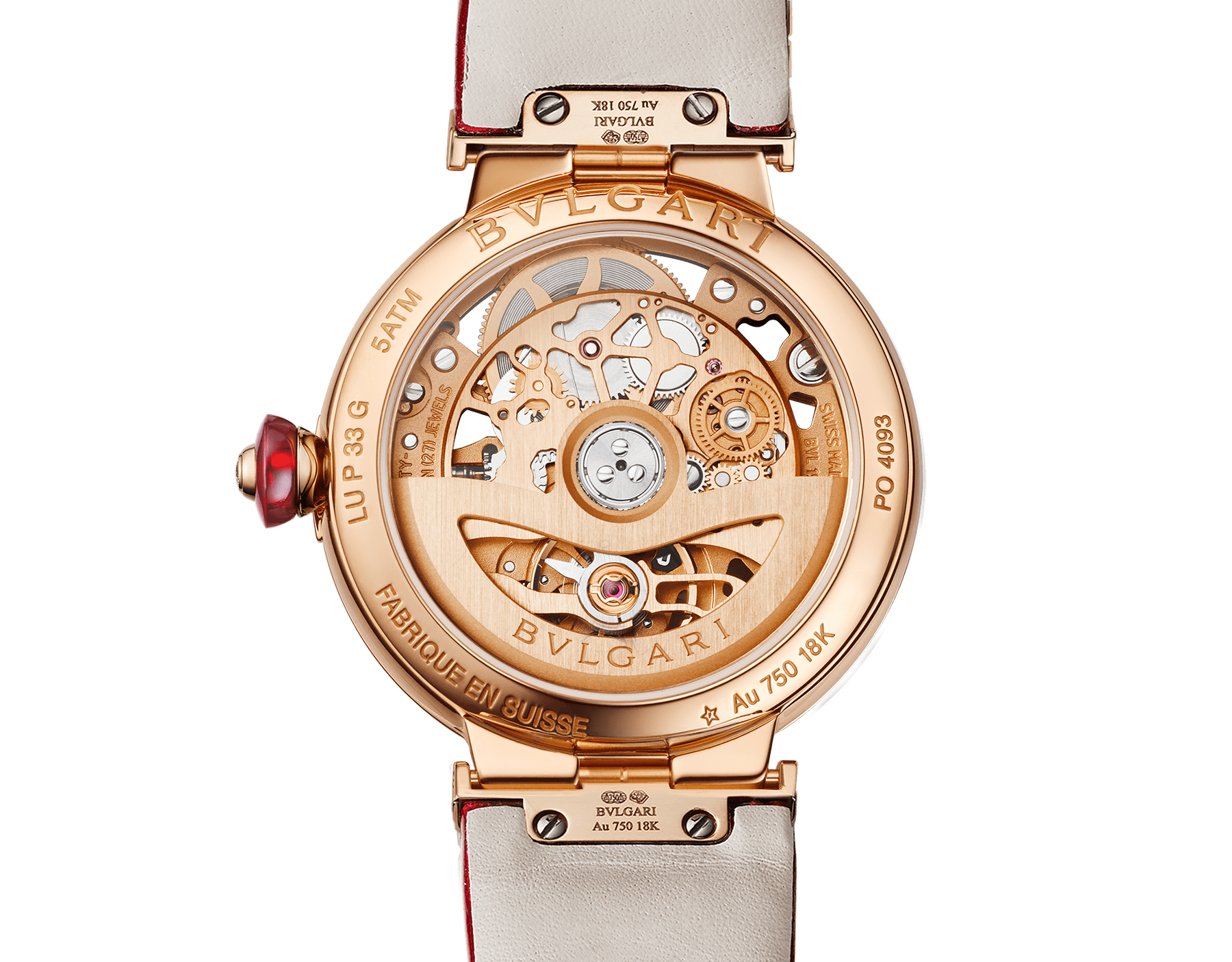 LVCEA Skeleton watch with mechanical manufacture movement, automatic winding, 18 kt rose gold case set with diamonds, openwork BVLGARI logo dial set with diamonds and red alligator bracelet 102833 image 4