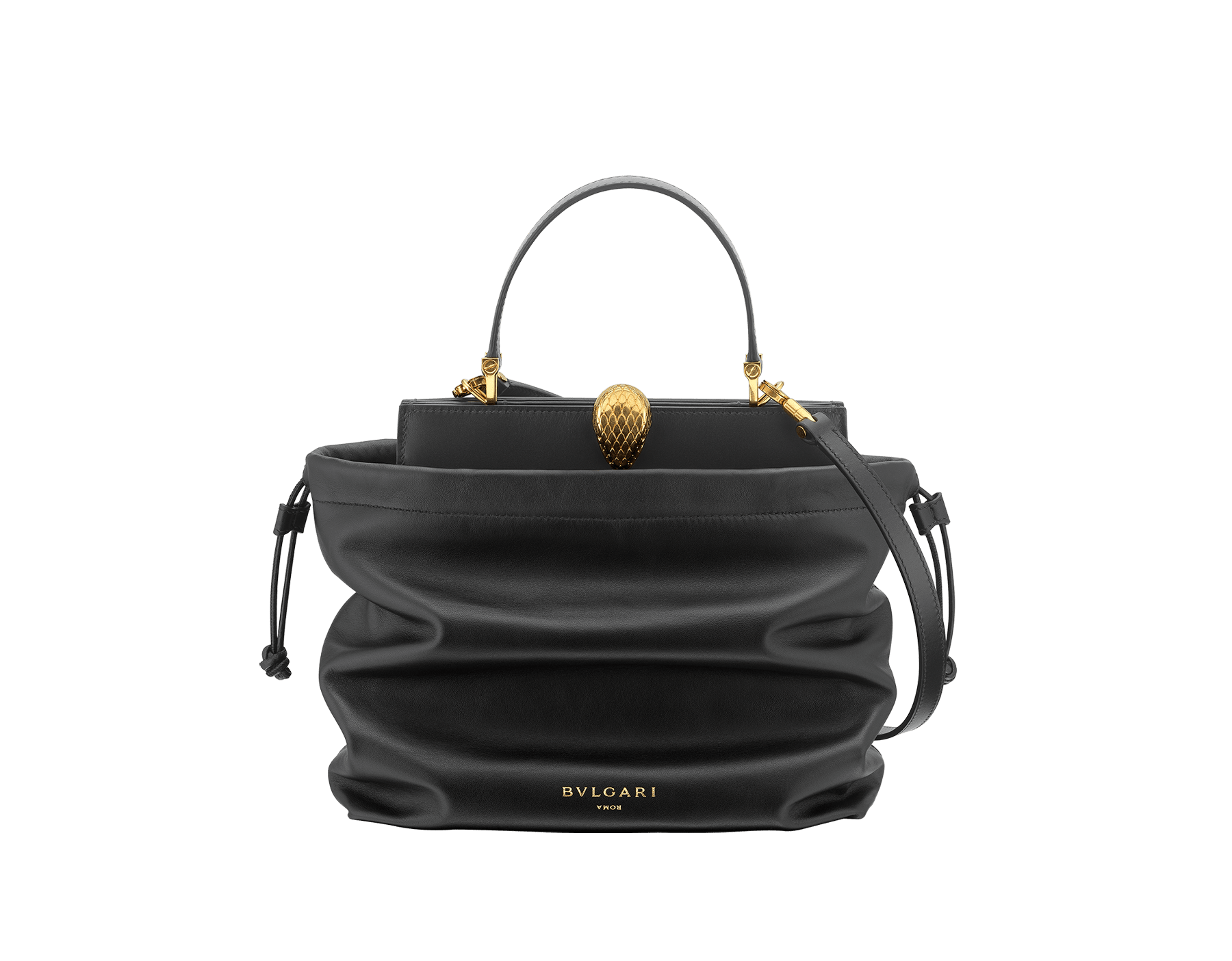 Alexander Wang x Bvlgari 2 in 1 satchel bag in black calf leather with black lambskin drawstring dust bag exterior. New Serpenti head closure in antique gold plated brass with tempting red enamel eyes. Limited edition. 288747 image 1