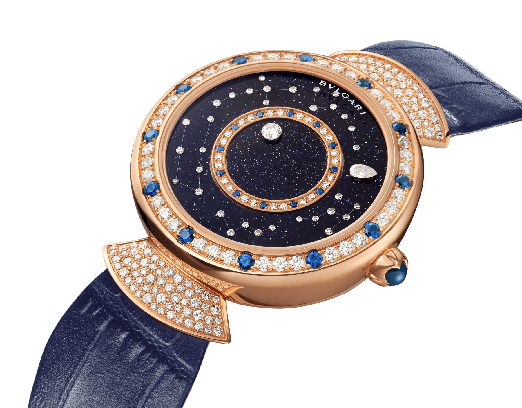 DIVAS' DREAM watch with mechanical manufacture movement, automatic winding, 18 kt rose gold case set with round brilliant-cut diamonds and sapphires, aventurine rotating discs with diamonds and printed constellations and dark blue alligator bracelet 102843 image 2
