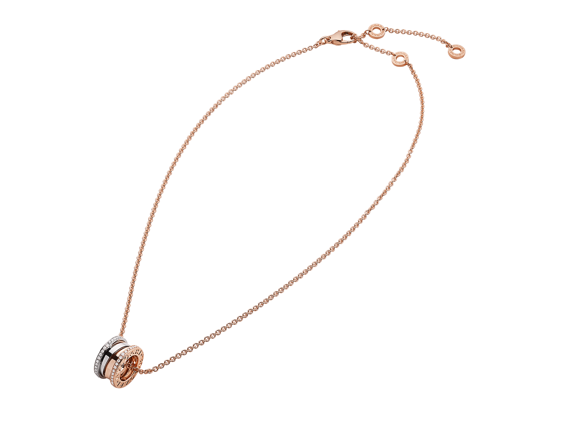 B.zero1 necklace with 18 kt rose and white gold pendant set with pavé diamonds (0.41 ct) on the edges and 18 kt rose gold chain. 355062 image 2