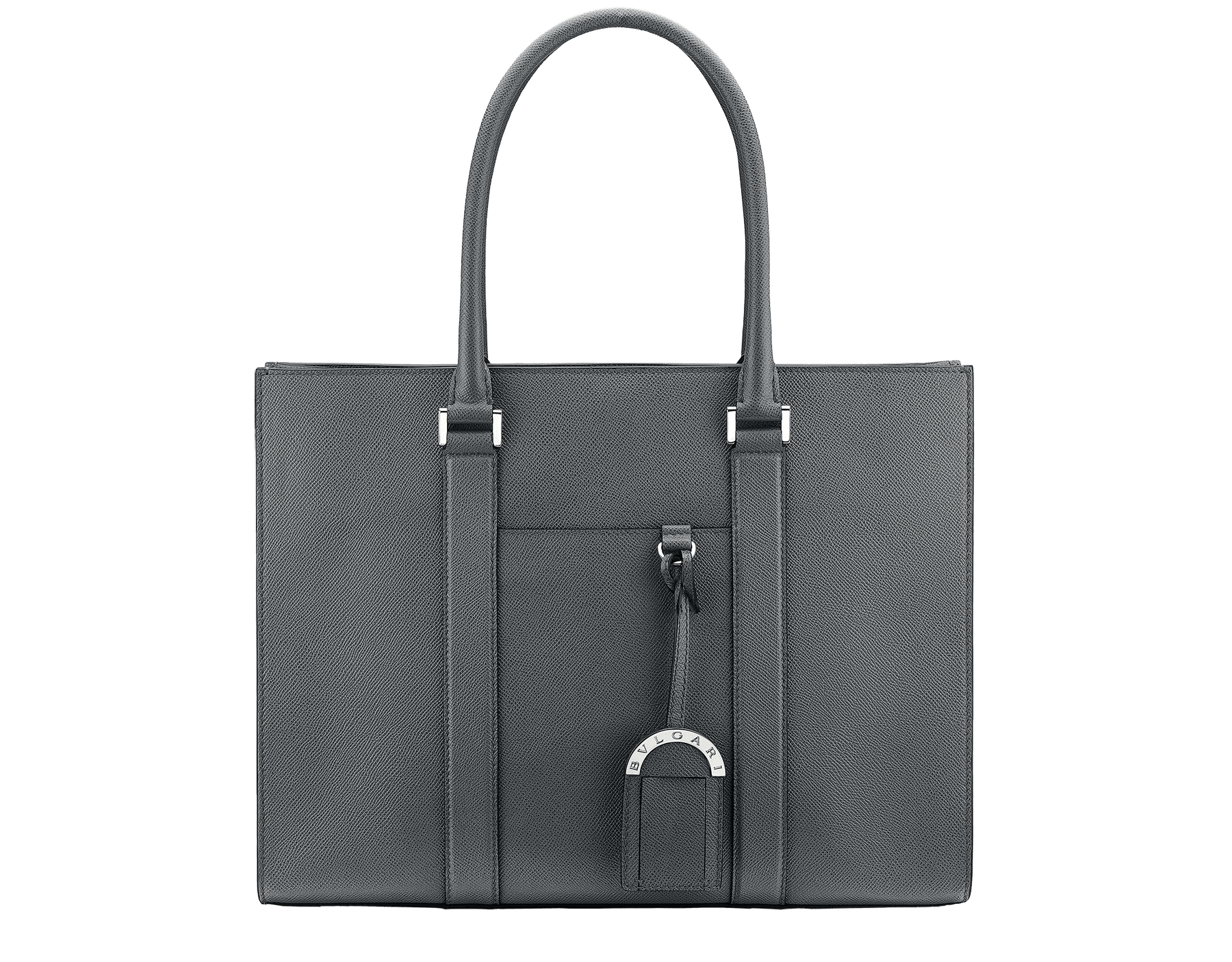 "Borsa Tote ""BVLGARI BVLGARI"" in vitello martellato color giada mimetic con finiture in ottone placcato palladio. BBM-001-0623M image 1"