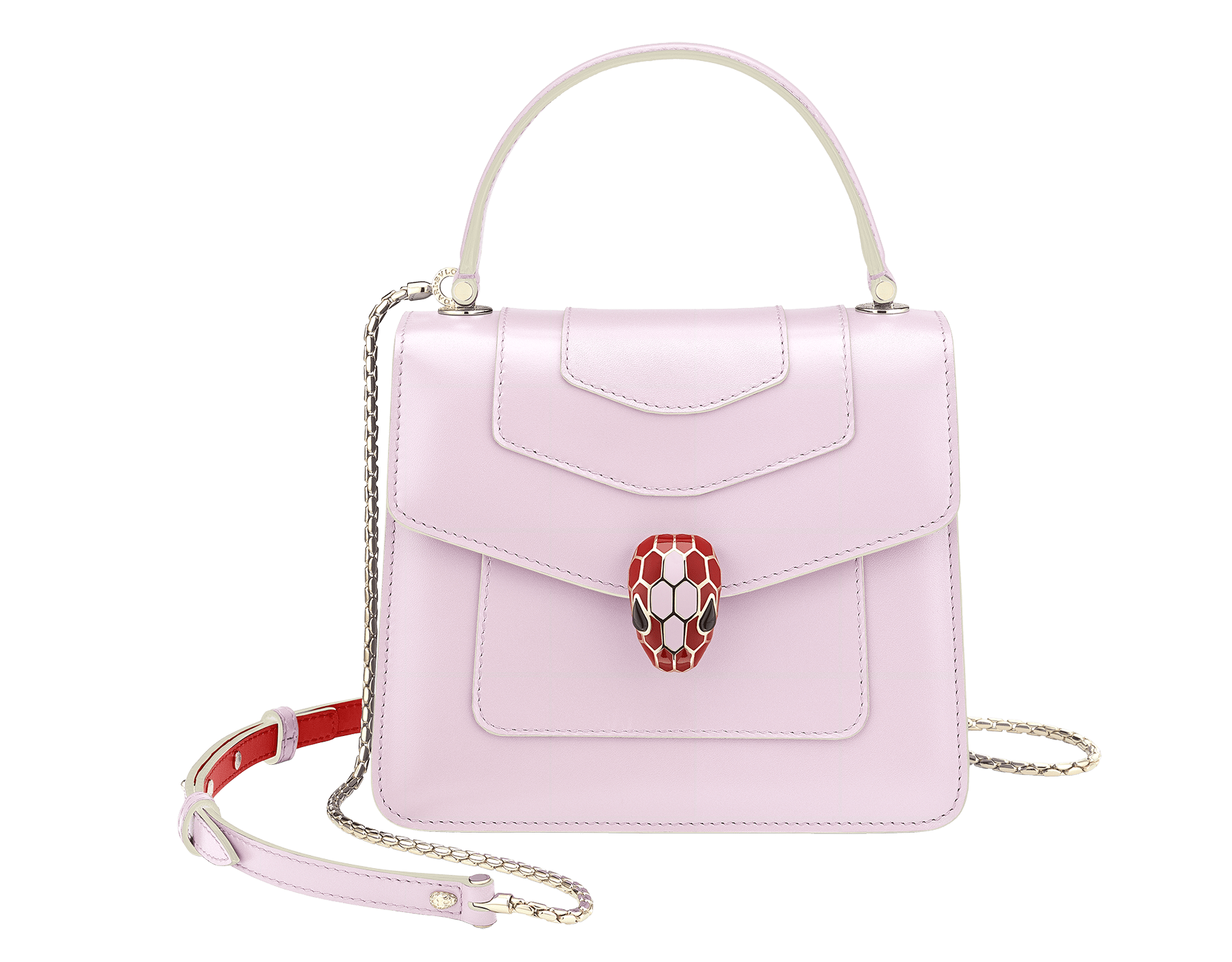 """Serpenti Forever "" crossbody bag in rosa di francia calf leather body and carmine jasper calf leather sides. Iconic snakehead closure in light gold plated brass enriched with carmine jasper and rosa di francia enamel and black onyx eyes. 289221 image 1"