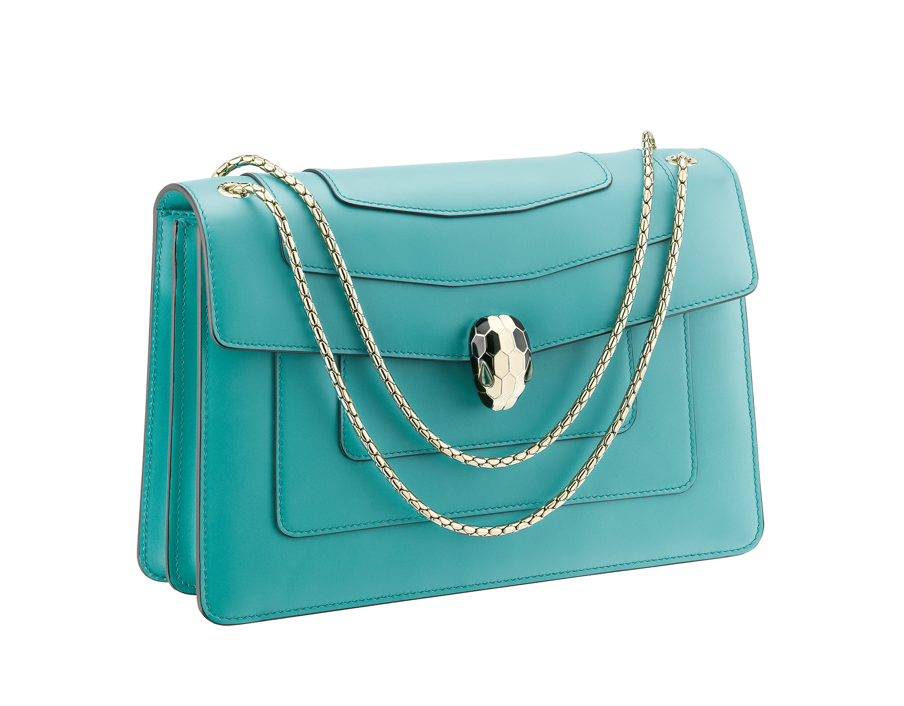Serpenti Forever shoulder bag in arctic jade calf leather. Iconic snakehead closure in light gold plated brass embellished with black and white enamel and green malachite eyes. 288701 image 2