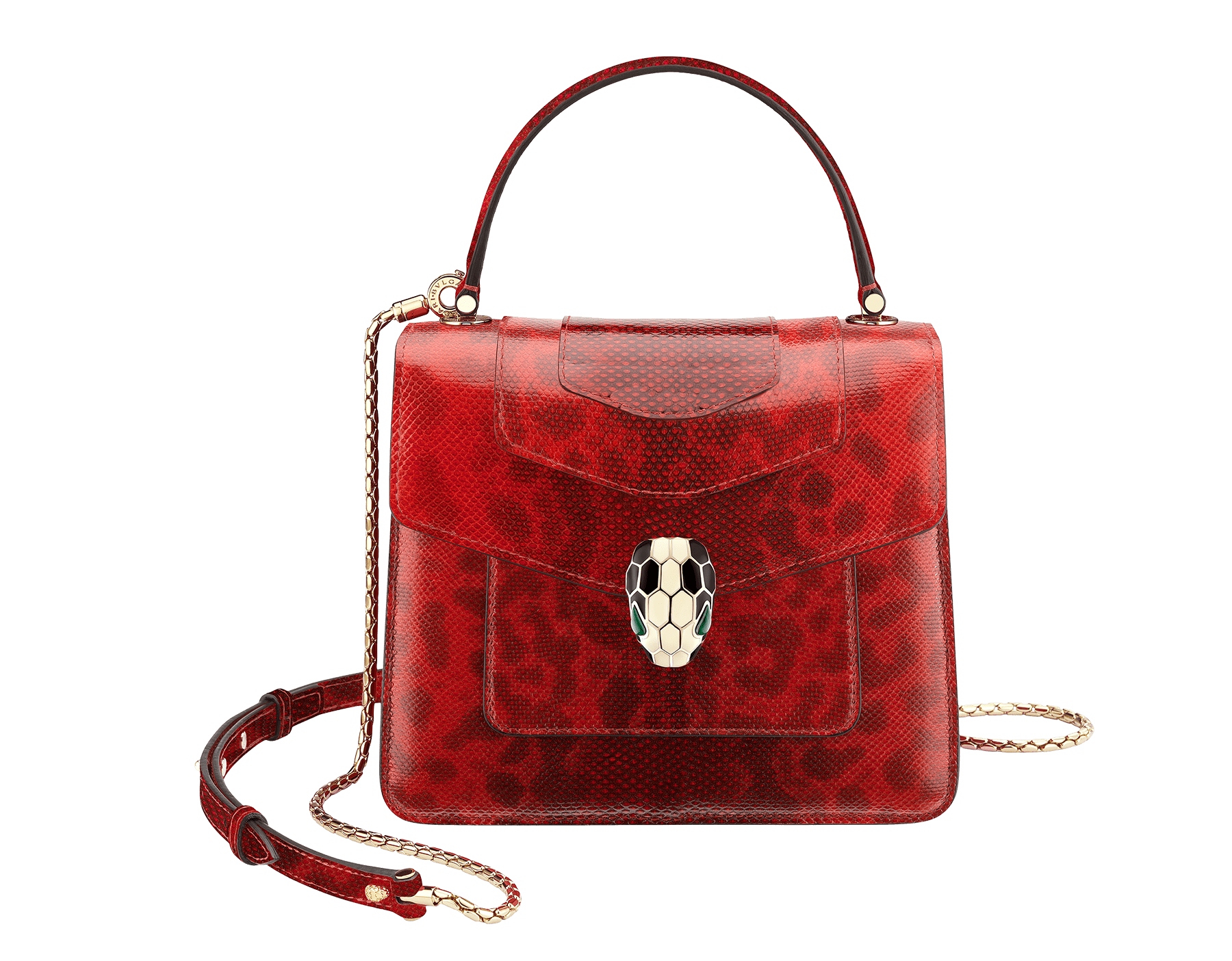 """Serpenti Forever "" crossbody bag in shiny carmine jasper karung skin. Iconic snakehead closure in light gold plated brass enriched with black and white enamel and green malachite eyes 287099 image 1"