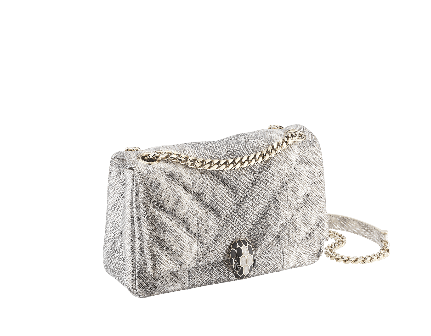 Serpenti Cabochon shoulder bag in soft quilted white agate metallic karung skin, with a graphic motif. Light gold brass plated tempting snake head closure in matte black and glitter white agate enamel, with black onyx eyes. 288805 image 2