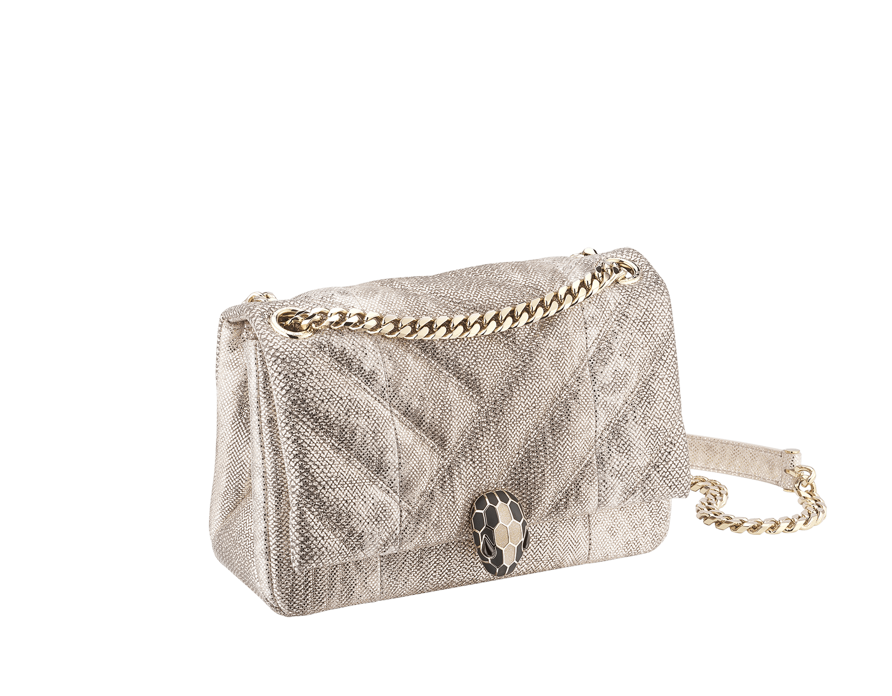 """Serpenti Cabochon"" shoulder bag in soft quilted Milky Opal beige metallic karung skin, with a graphic motif, and Milky Opal beige nappa leather internal lining. Light gold brass plated tempting snake head closure in matte black and glitter Milky Opal beige enamel, with black onyx eyes. 1094-MK image 2"