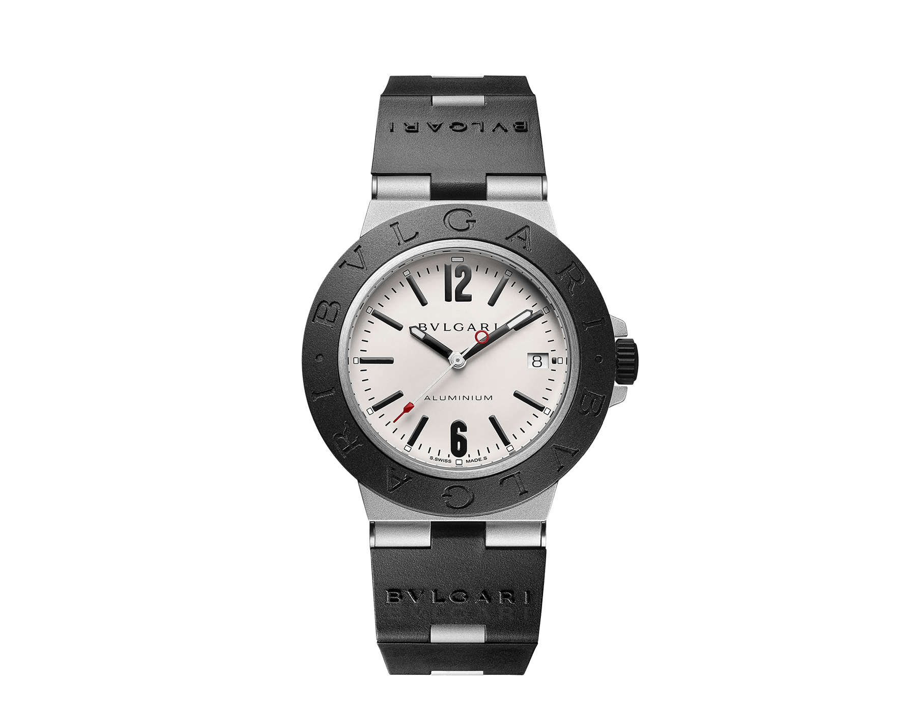 Bvlgari Aluminium watch with mechanical manufacture movement, automatic winding, 40 mm aluminium case, black rubber bezel with BVLGARI BVLGARI engraving, grey dial and black rubber bracelet. Water resistant up to 100 metres 103382 image 1
