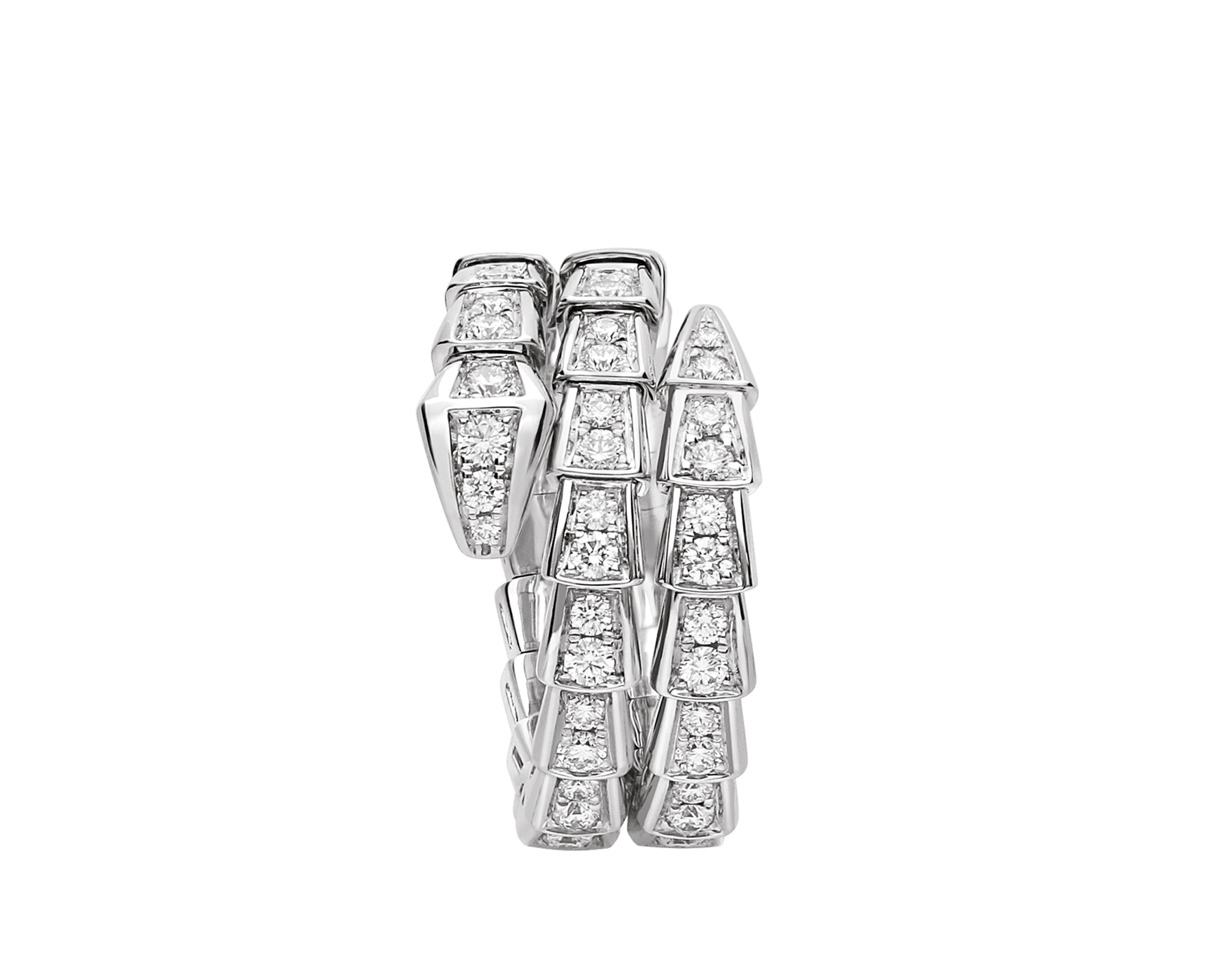 Serpenti Viper two-coil 18 kt white gold ring set with pavé diamonds AN858793 image 2
