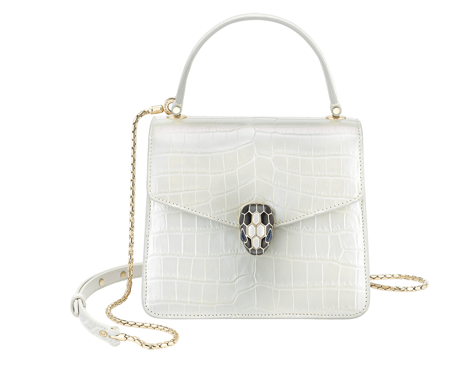 """Serpenti Forever"" crossbody bag in white agate crocodile skin with an iridescent and pearled effect. Iconic snake head closure in light gold plated brass enriched with black enamel and mother-of-pearl scales, and blue lapis lazuli eyes. 752-Cb image 1"