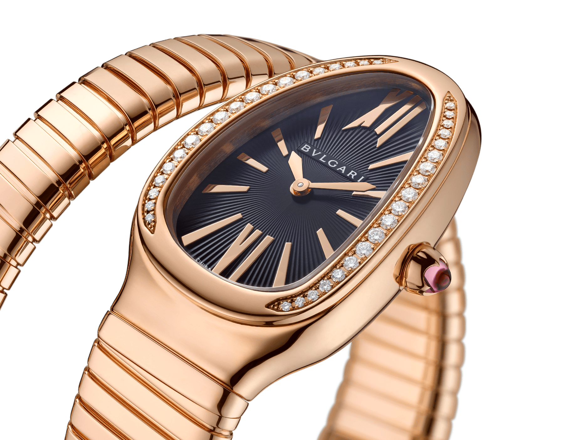 Serpenti Tubogas single spiral watch with 18 kt rose gold case set with brilliant cut diamond, black opaline dial and 18kt rose gold bracelet. 101815 image 3