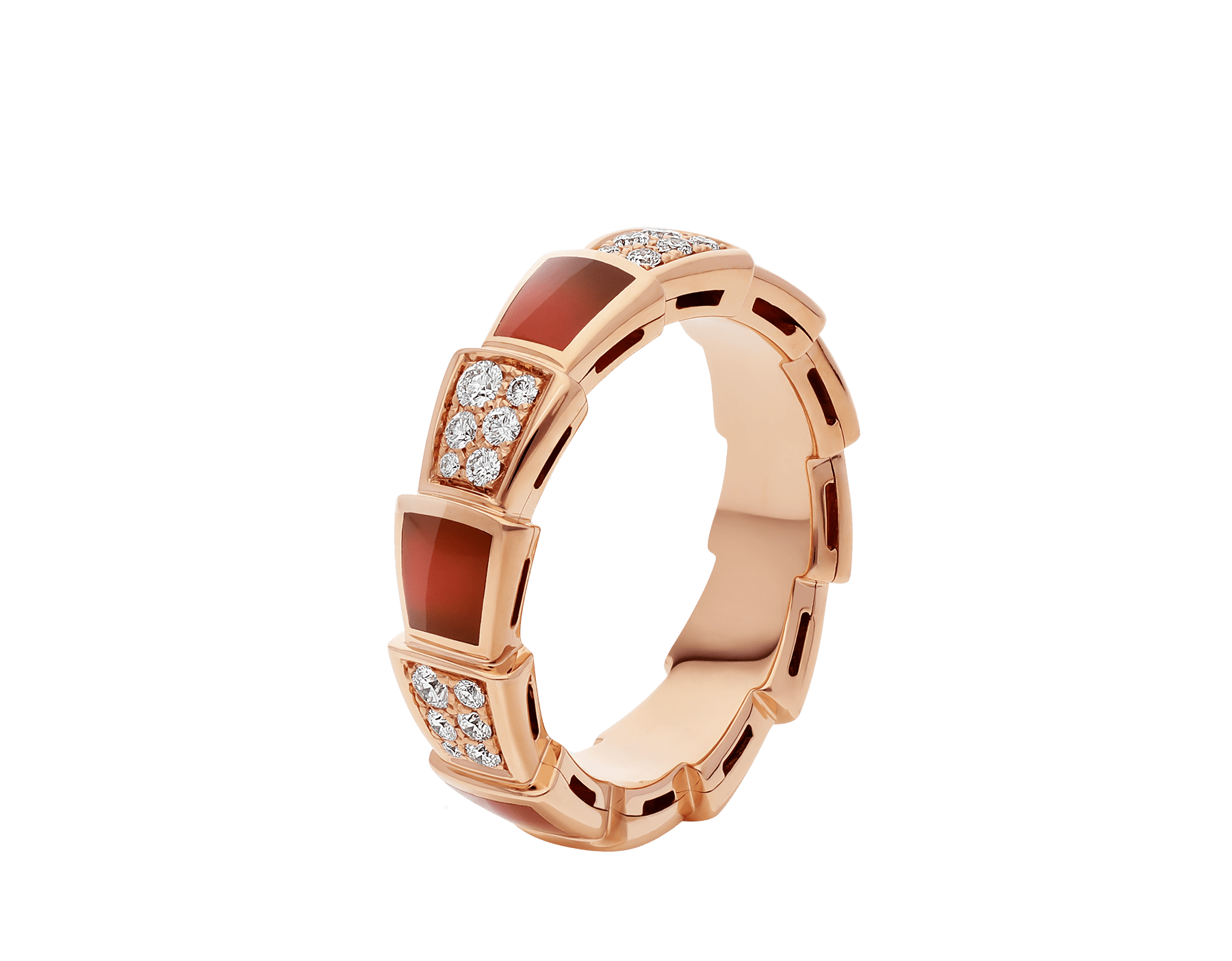 Serpenti Viper band ring in 18 kt rose gold set with carnelian elements and pavé diamonds (0.43 ct). AN857927 image 1