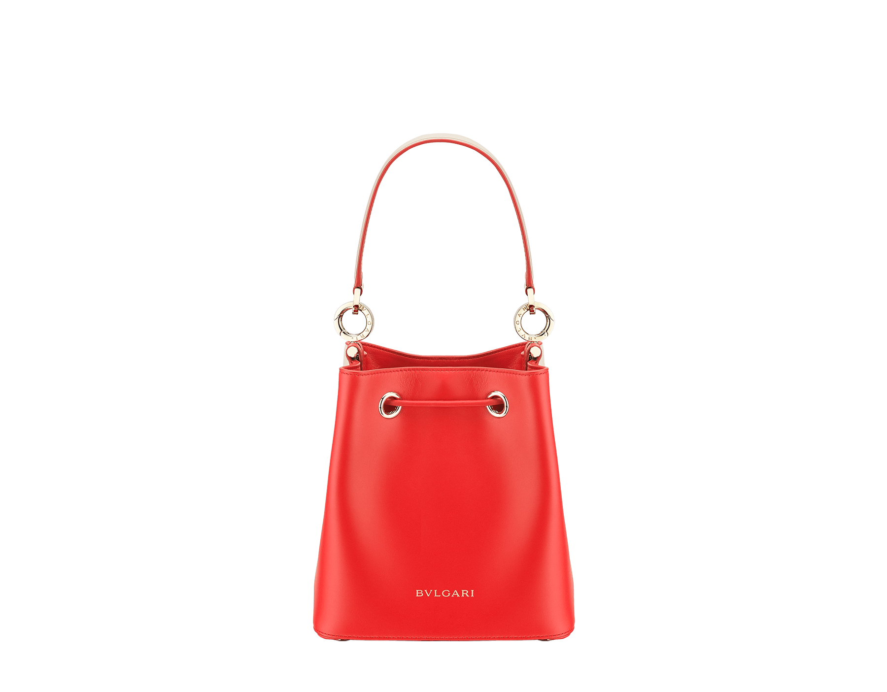 Bucket B.zero1 in milky opal and sea star coral smooth calf leather and sea star coral nappa internal lining. Hardware in light gold plated brass, featuring a B.zero1 décor. 288208 image 3