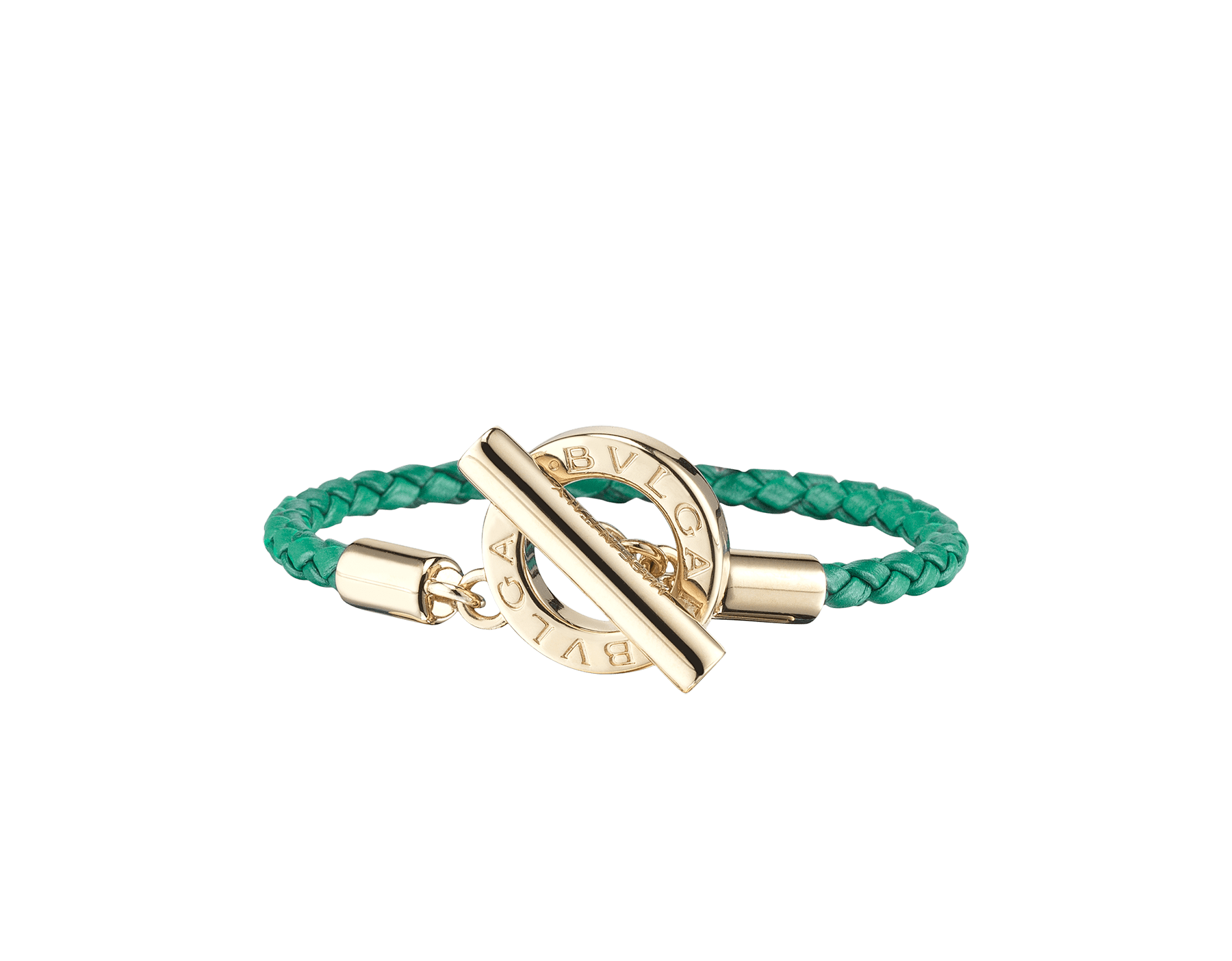 Bvlgari Bvlgari braid bracelet in emerald green woven calf leather with an iconic iconic logo closure in light gold plated brass. BBClasp-WCL-EG image 1