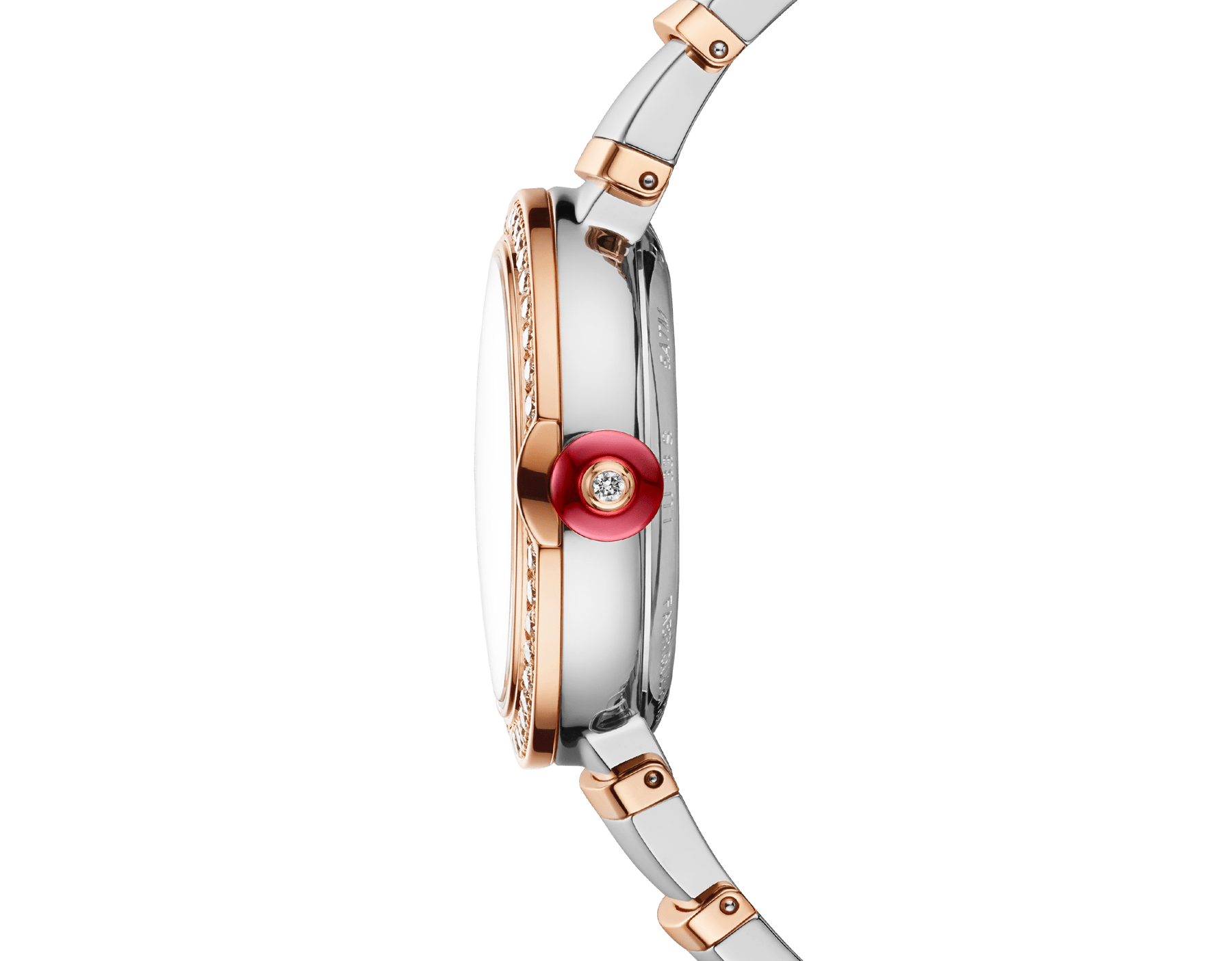 LVCEA watch with stainless steel case, 18 kt rose gold bezel set with brilliant-cut diamonds, green dial, diamond indexes, date opening, stainless steel and 18 kt rose gold bracelet. Exclusive Edition for Middle East 103289 image 3