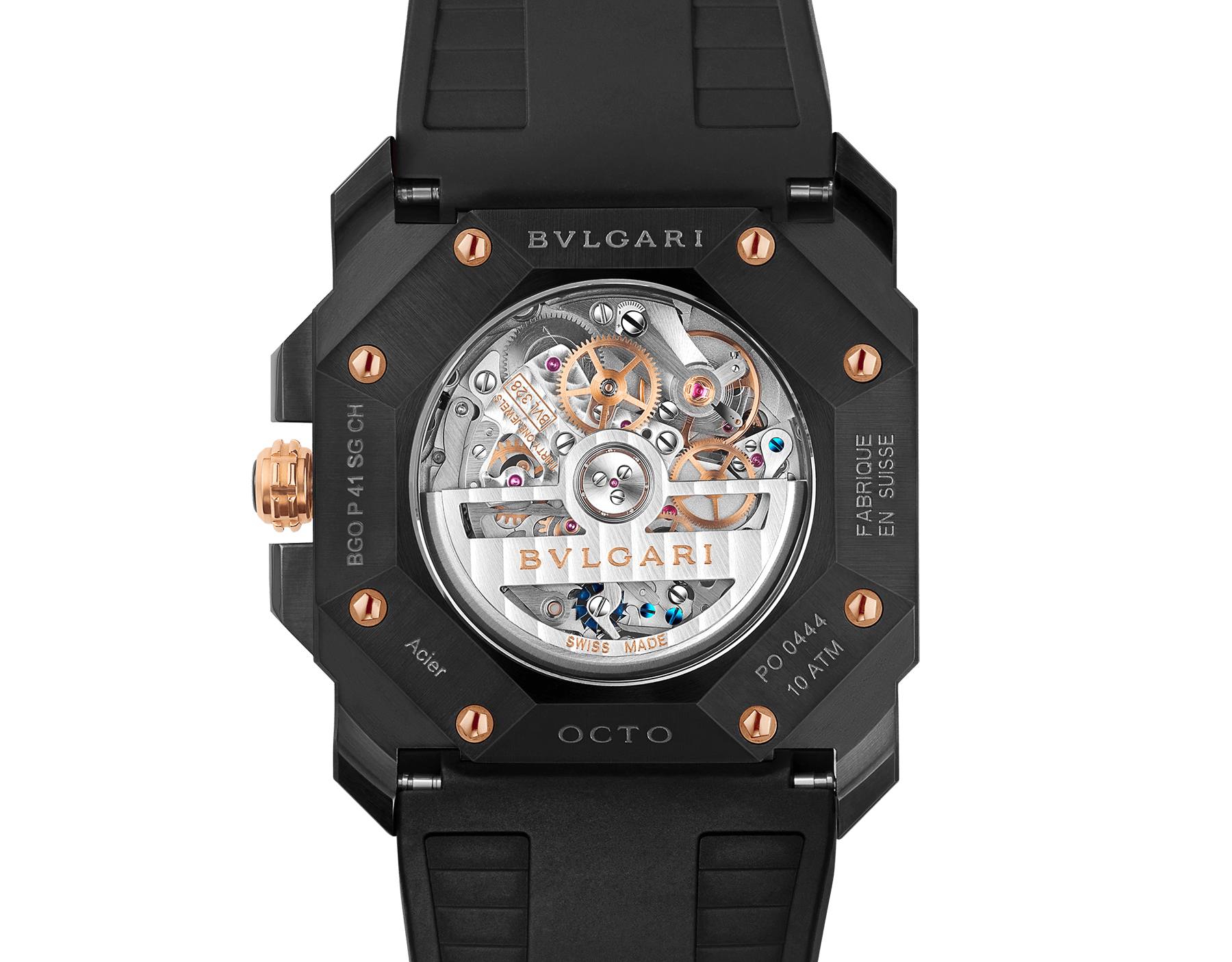 Octo watch with mechanical manufacture movement, high-frequency chronograph, automatic winding and date, stainless steel case treated with black Diamond Like Carbon, 18 kt rose gold bezel, black lacquered dial and black rubber bracelet. 102488 image 4
