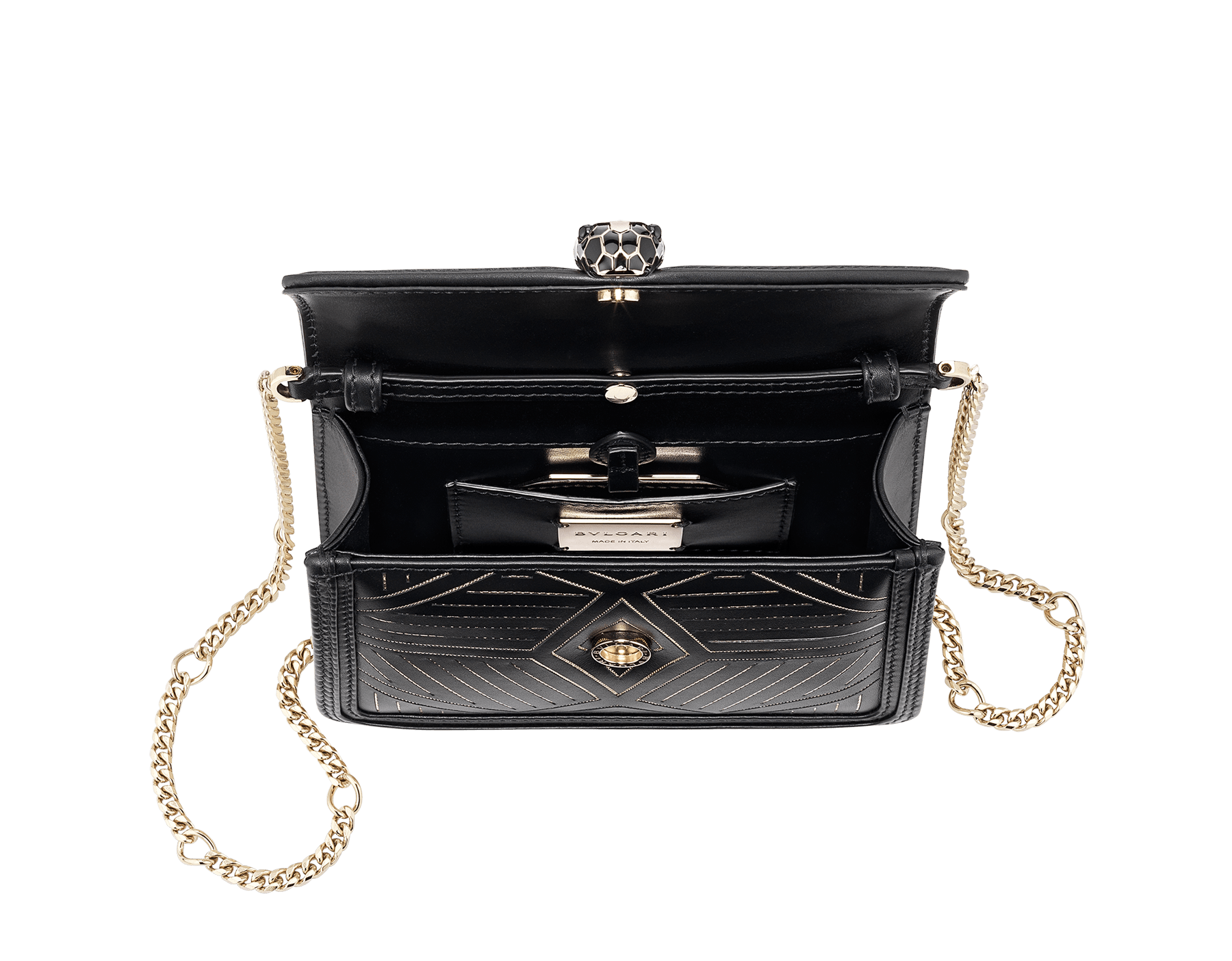 """Serpenti Diamond Blast"" shoulder bag in white agate calf leather, featuring a Whispy Chain motif in light gold finishing. Iconic snakehead closure in light gold plated brass enriched with black and white agate enamel and black onyx eyes. 987-WC image 4"