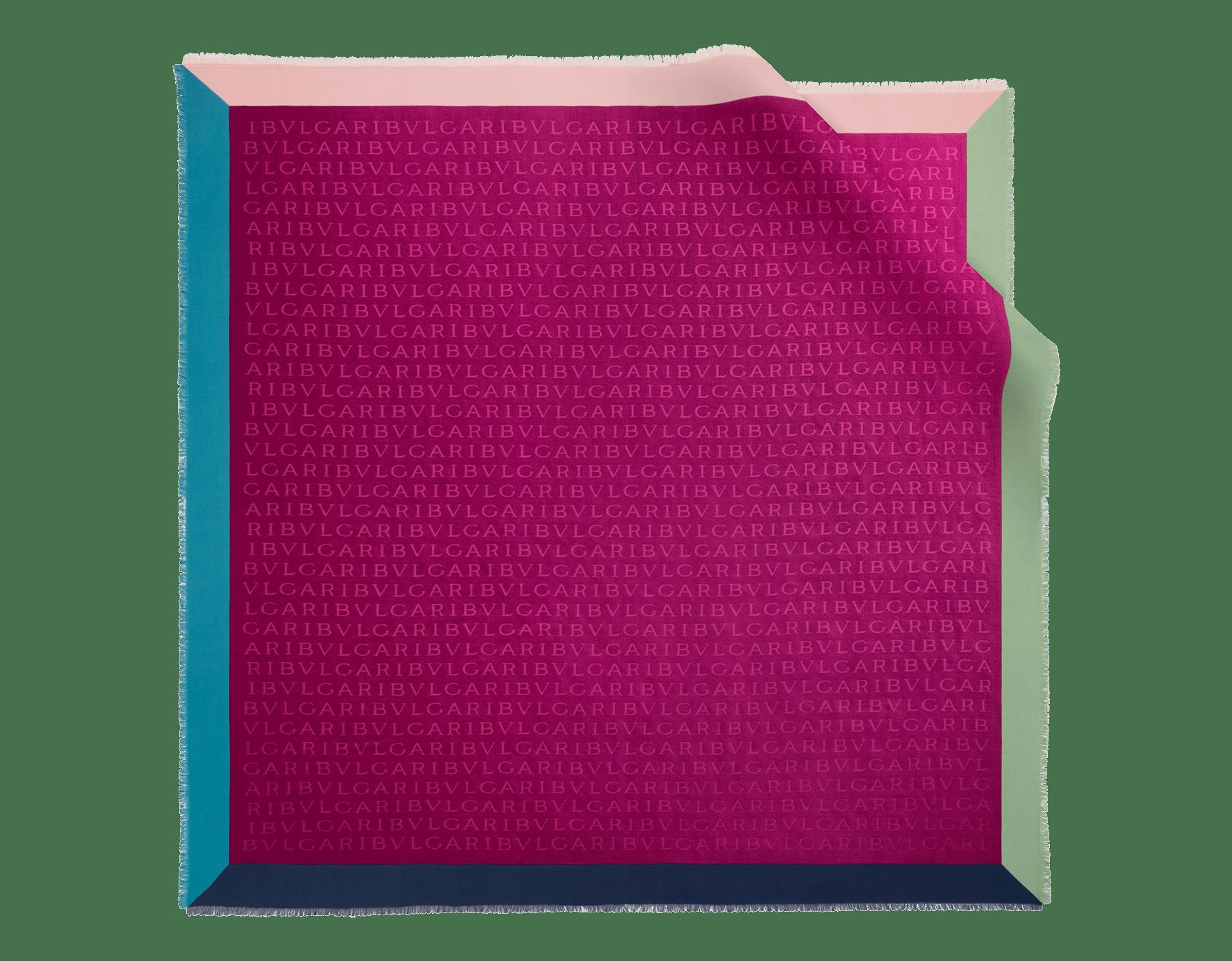 "Black ""Logoquadro"" scarf in fine silk wool LOGOQUADRO image 1"