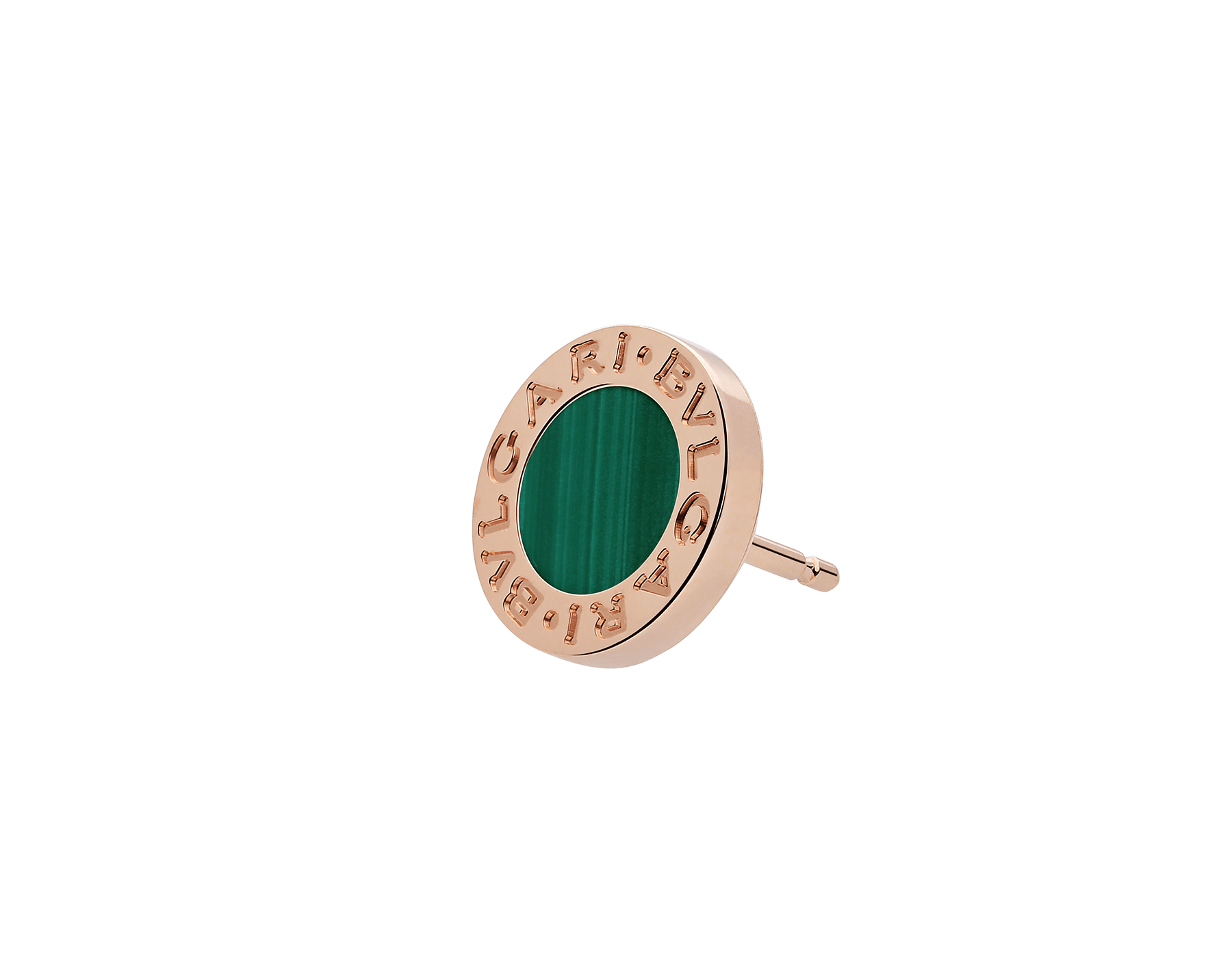"BVLGARI BVLGARI 18 kt rose gold single stud earring with malachite. Kindly note that this product is sold as a single piece: if you wish to purchase a pair you should select quantity ""2"" 354729 image 2"