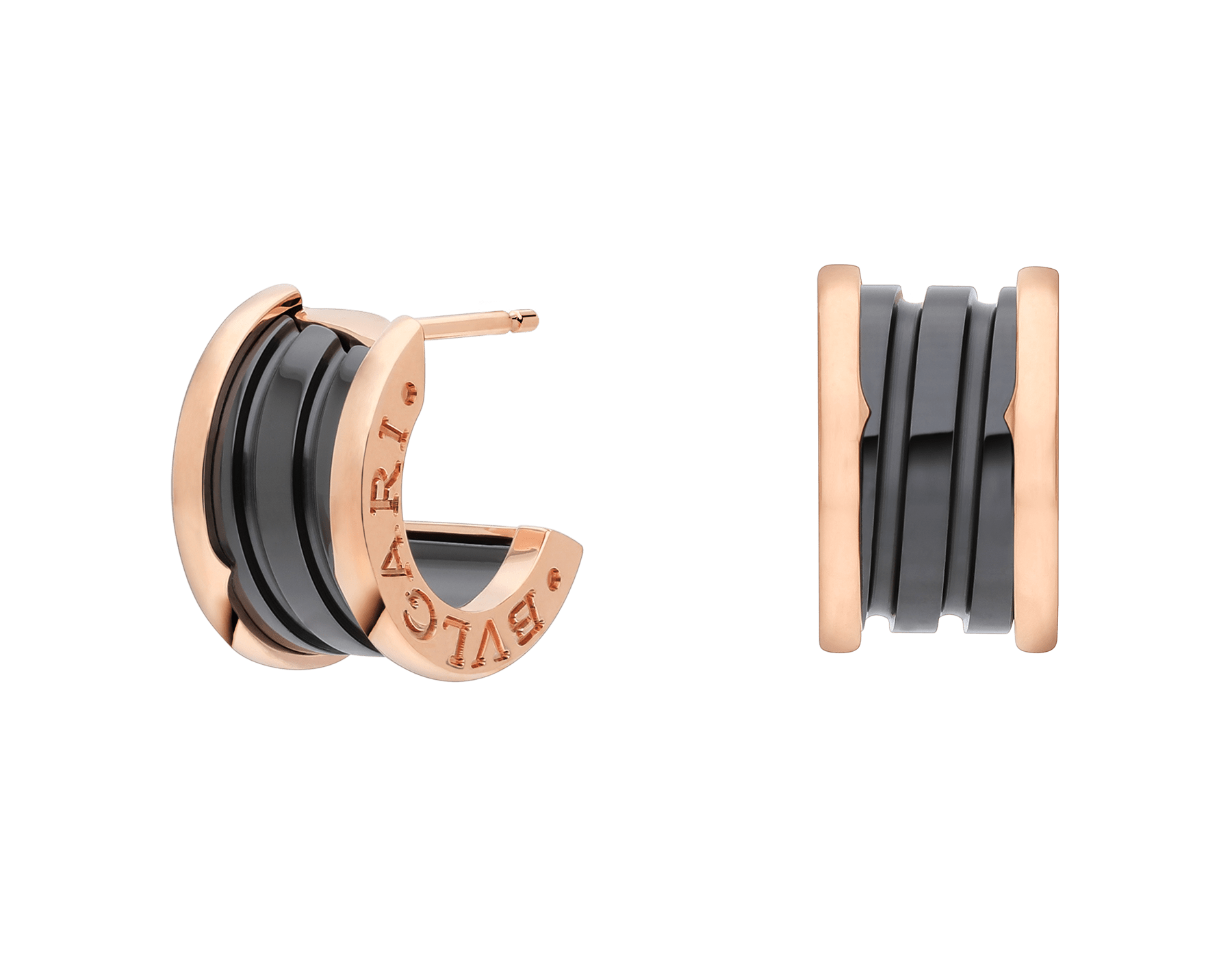 B.zero1 earrings in 18kt rose gold and black ceramic. 347405 image 1