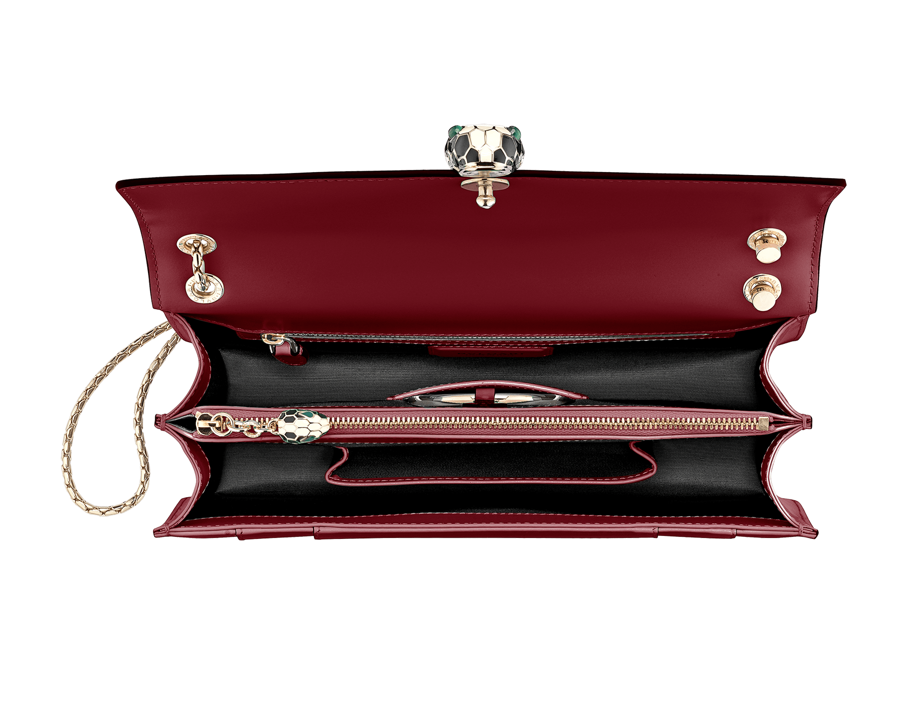 Flap cover bag Serpenti Forever in Roman garnet calf leather. Brass light gold plated snake head closure in black and white enamel with eyes in green malachite. 521-CLc image 4
