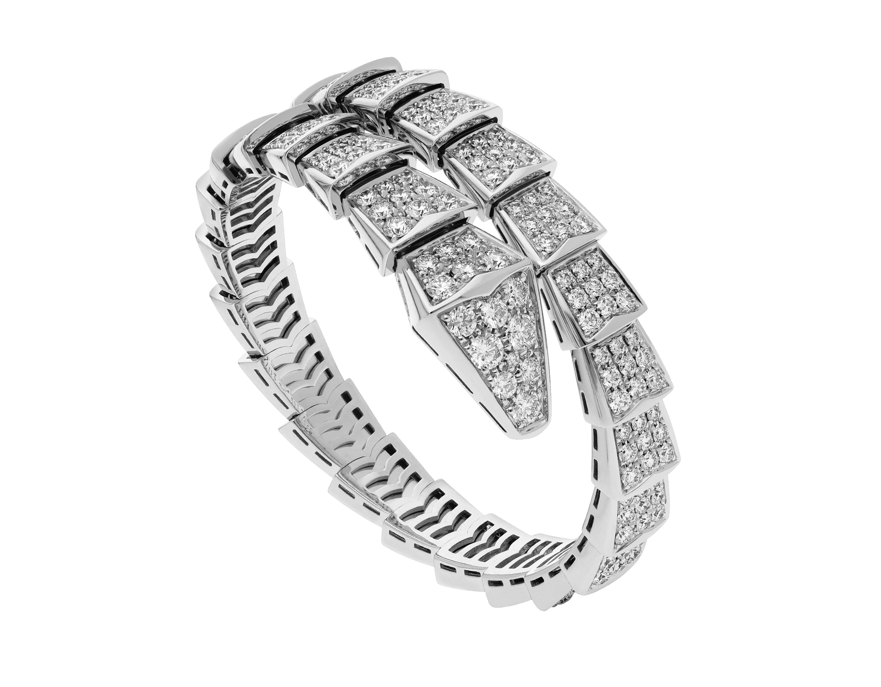 Serpenti Viper one-coil bracelet in 18 kt white gold, set with full pavé diamonds. BR855231 image 1