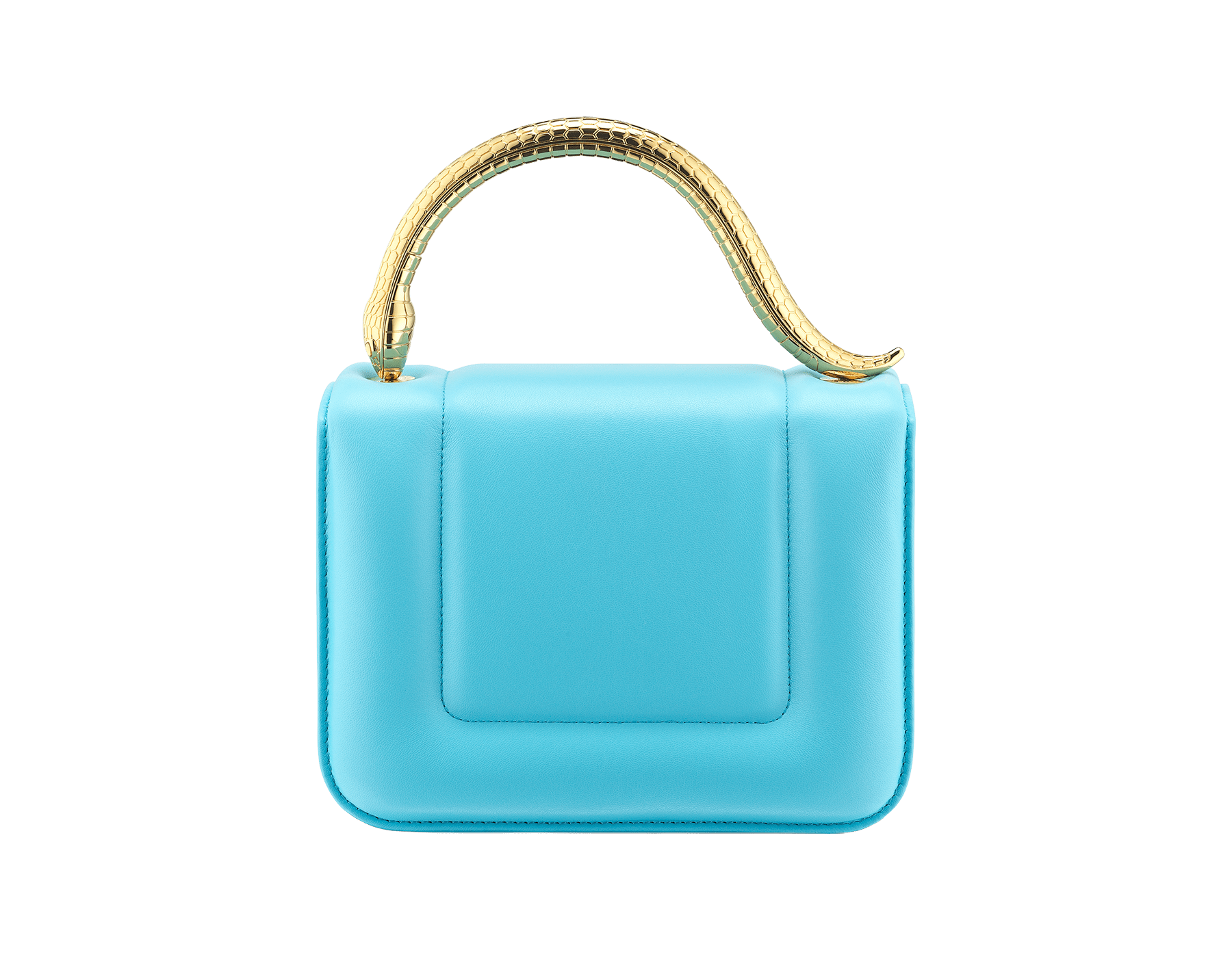 Mary Katrantzou x Bvlgari 手提包,採用柔軟的 Aegean Toapz 藍色絎縫納帕軟面皮,Aegean Toapz 藍色納帕軟面皮襯裡。新式金色黃銅 Serpenti 蛇頭扣環,誘人蛇眼鑲飾水晶。特別版包款。 MK-1142 image 3