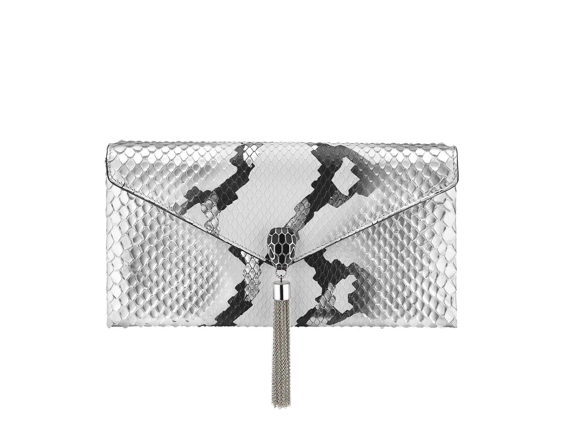 """Serpenti"" evening clutch bag in white and silver Ice Glam python skin. Iconic snake head stud closure with tassel in palladium plated brass enriched with black shiny enamel and black onyx eyes. 288976 image 1"