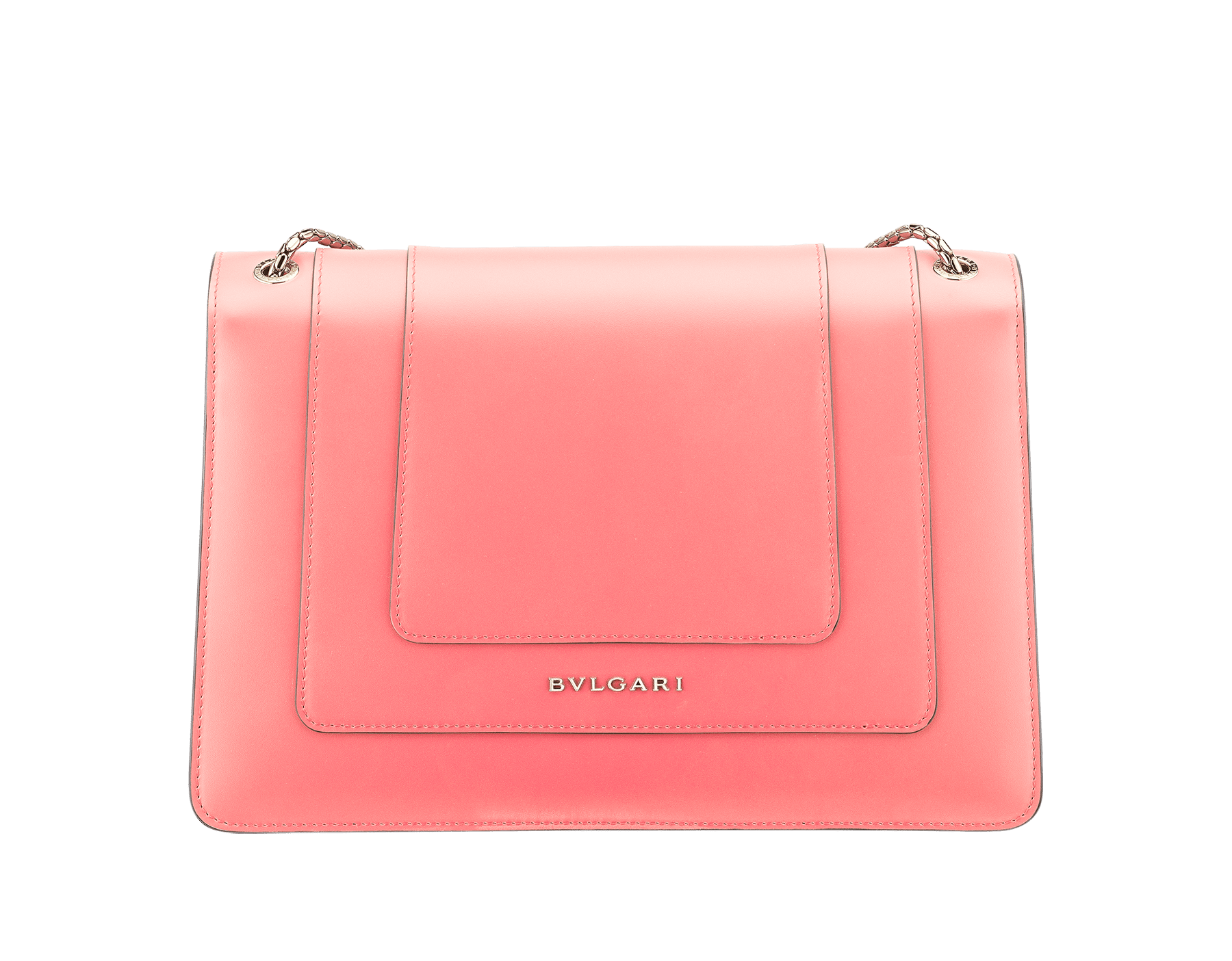 Serpenti Forever shoulder bag in silky coral calf leather. Iconic snakehead closure in light gold plated brass embellished with black and white enamel and green malachite eyes. 288704 image 3