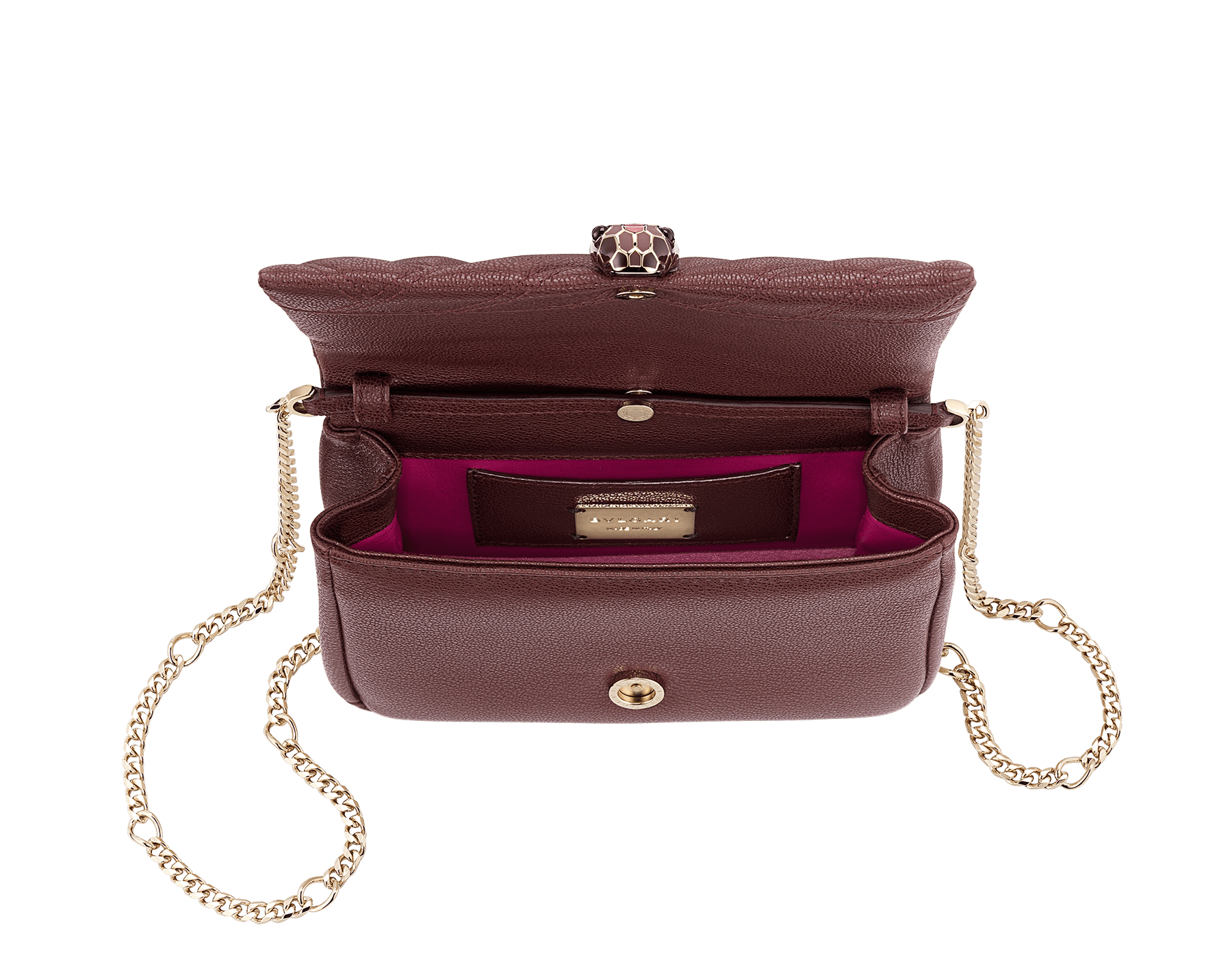 """Serpenti Cabochon"" crossbody mini bag in soft quilted Oxblood bordeaux grainy calf leather, with a graphic motif, and Berry Tourmaline fuchsia nappa leather internal lining. Tempting snakehead closure in light gold plated brass enriched with dégradé Oxblood bordeaux enamel from ultrabright to bright, with black onyx eyes. 290648 image 2"