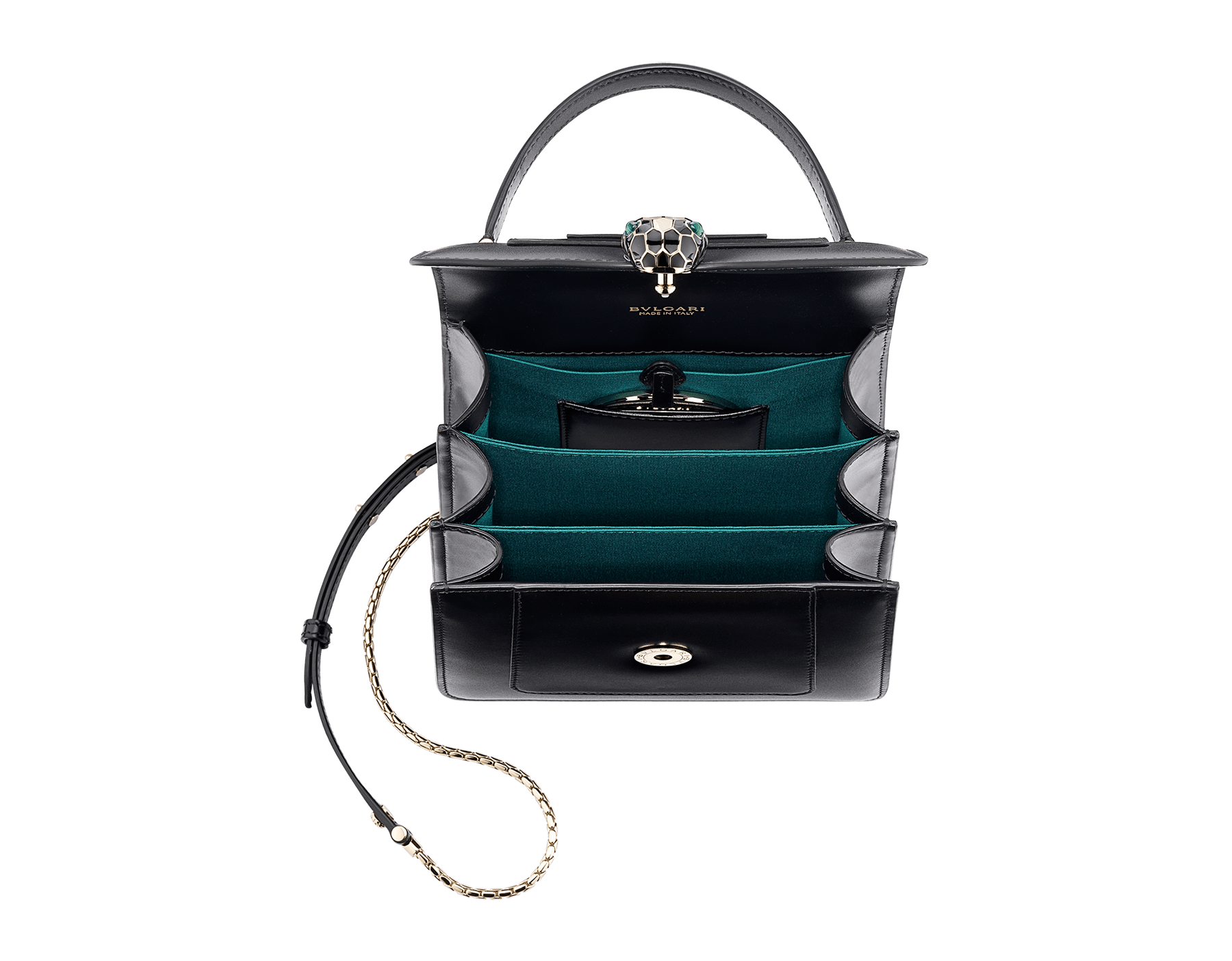"""""""Serpenti Forever"""" top-handle bag in black calfskin with emerald-green grosgrain inner lining. Iconic snakehead closure in light gold-plated brass embellished with black and agate-white enamel and green malachite eyes 1122-CLa image 4"""