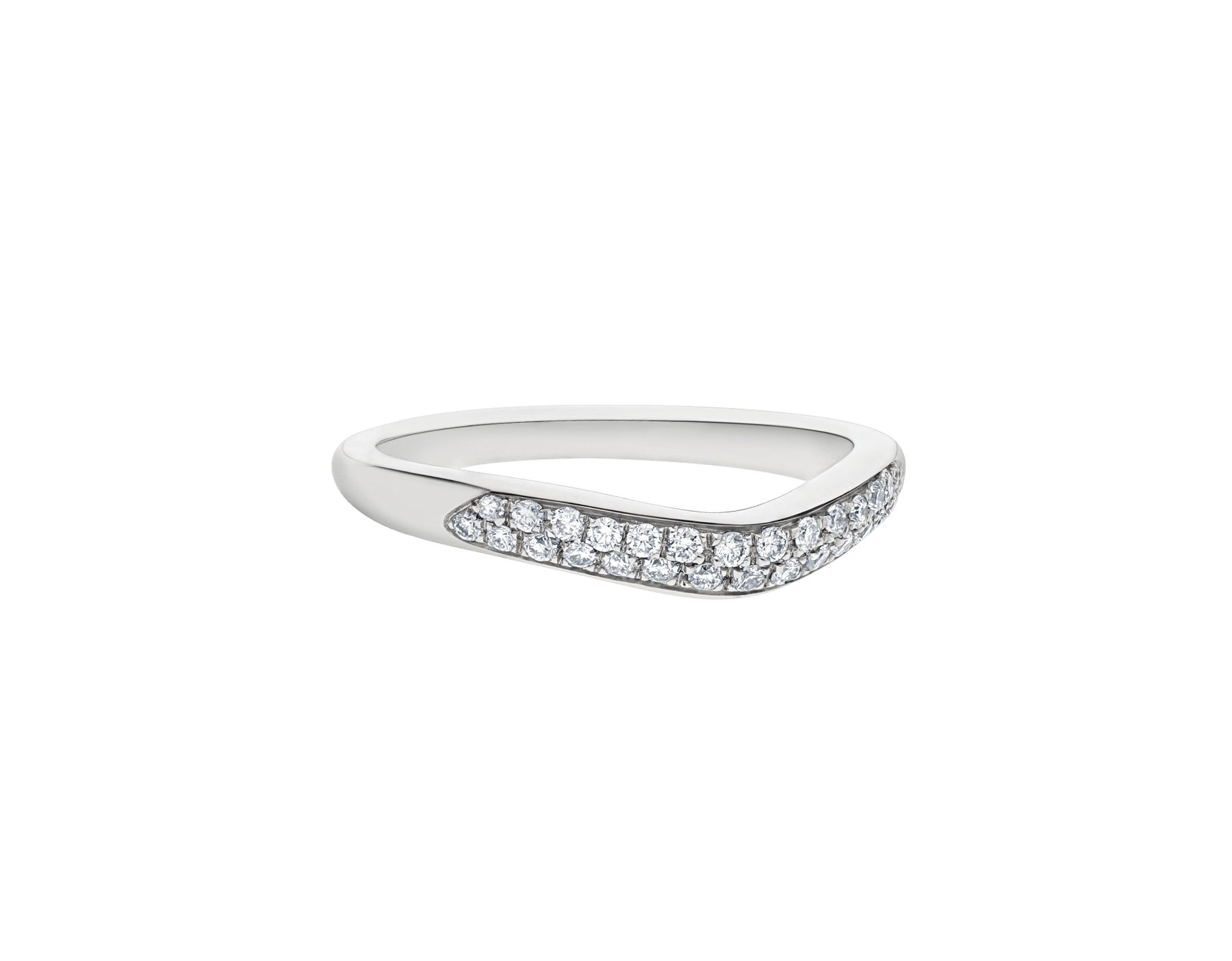 Corona platinum wedding band set with pavé diamonds AN856079 image 3