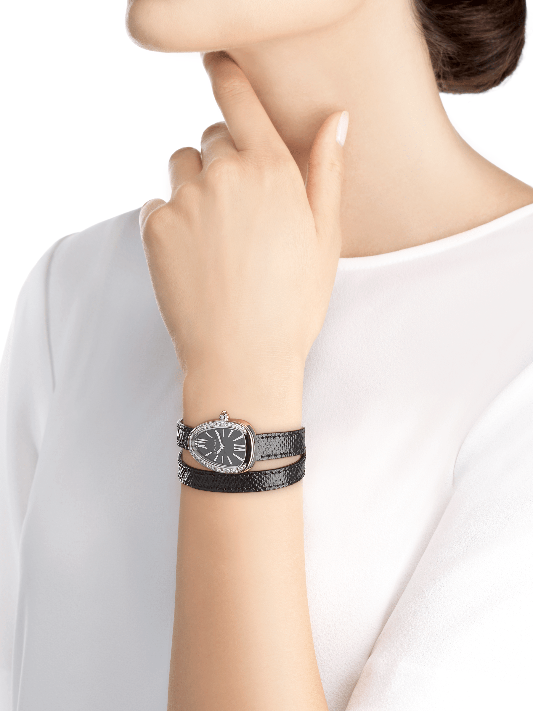 Serpenti watch with stainless steel case set with round brilliant-cut diamonds, black lacquered dial and interchangeable double spiral bracelet in black karung leather 102921 image 3