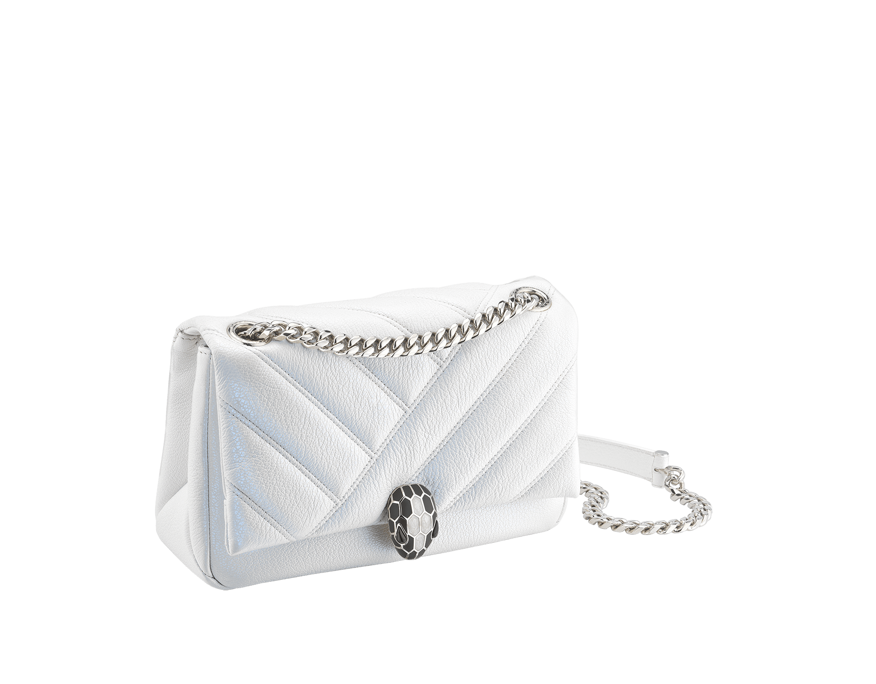 """Serpenti Cabochon"" shoulder bag in soft quilted white agate goatskin with a pearled, iridescent effect and a graphic motif. Brass palladium plated tempting snake head closure in matte black and shiny white enamel and black onyx eyes. 290236 image 2"
