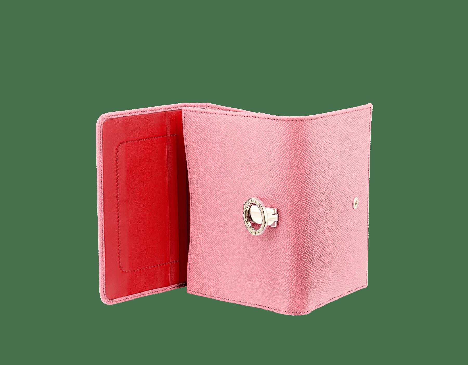 BVLGARI BVLGARI 糖果石英色亮珠面小牛皮和洋紅碧玉色 Nappa 軟面皮小巧手拿包,寶格麗經典標誌淡金色黃銅扣環。 287607 image 3