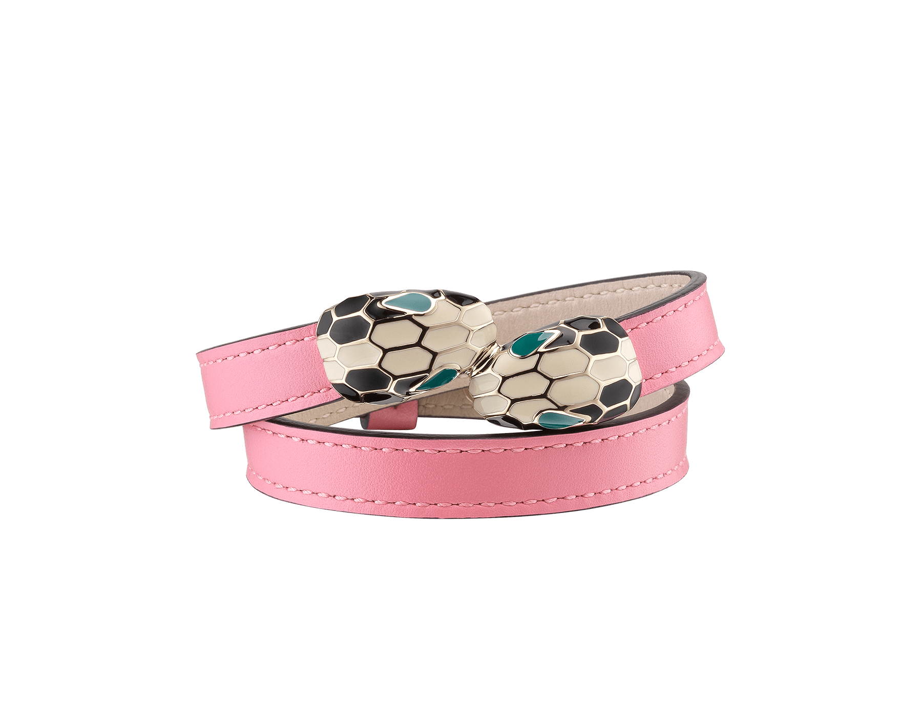 Serpenti Forever multi-coiled bracelet in candy quartz calf leather, with brass light gold plated hardware. Iconic contraire snakehead décor in black and white enamel, with green enamel eyes MCSerp-CL-CQ image 1