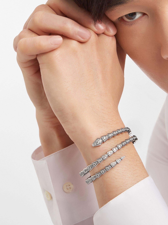 Serpenti Viper two-coil 18 kt white gold bracelet set with pavé diamonds BR858795 image 3
