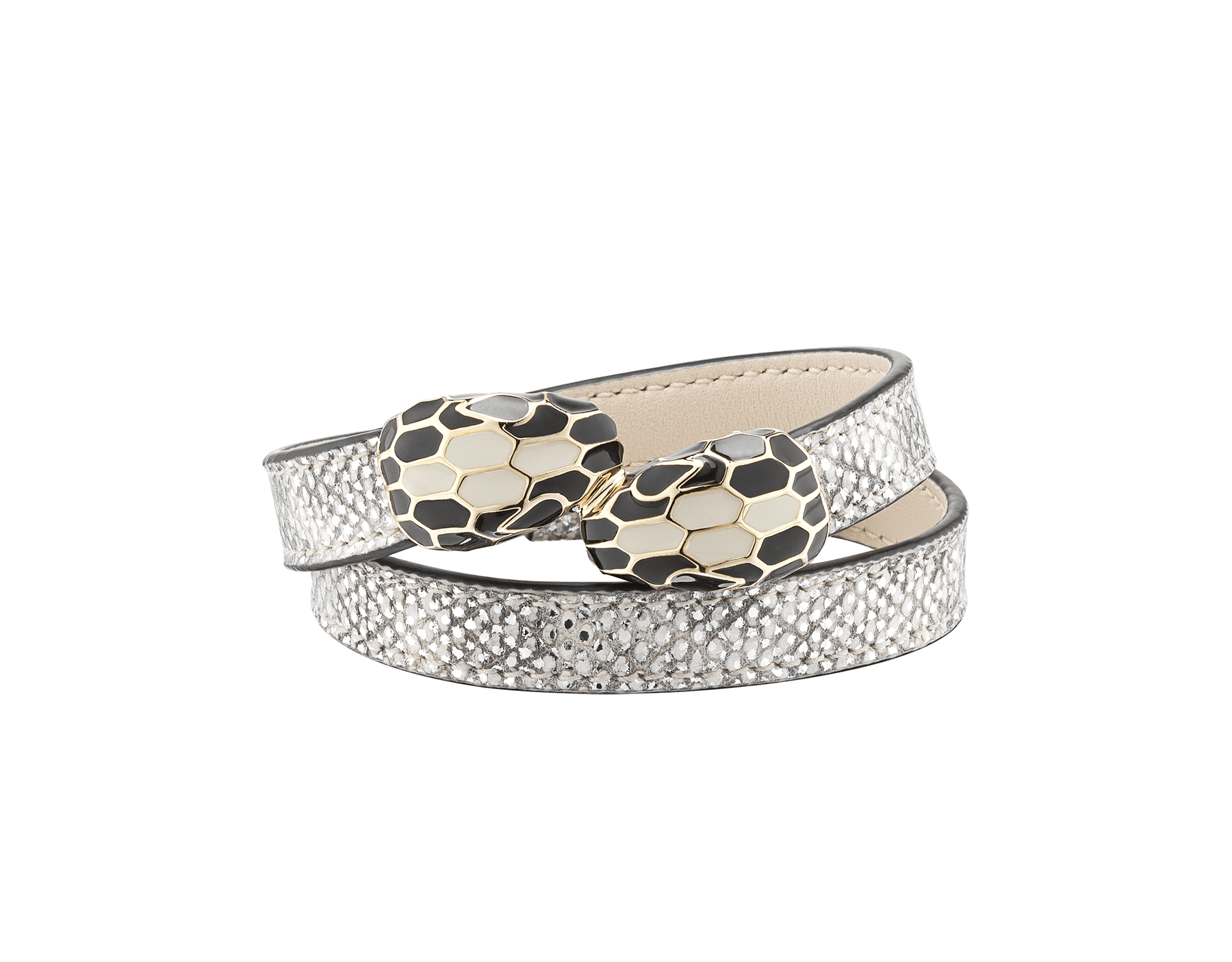 Serpenti Forever multi-coiled bracelet in white agate metallic karung skin, with brass light gold plated hardware. Iconic contraire snakehead décor in black and white agate enamel, with black enamel eyes. MCSerp-MK-WA image 1