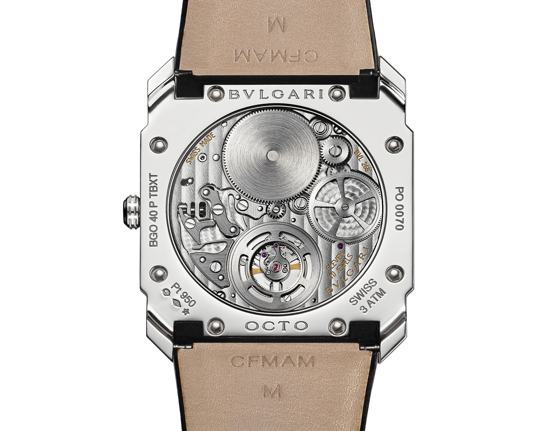 Octo Finissimo Tourbillon watch with extra thin mechanical manufacture movement and manual winding, platinum case, black lacquered dial and black alligator bracelet. 102138 image 4