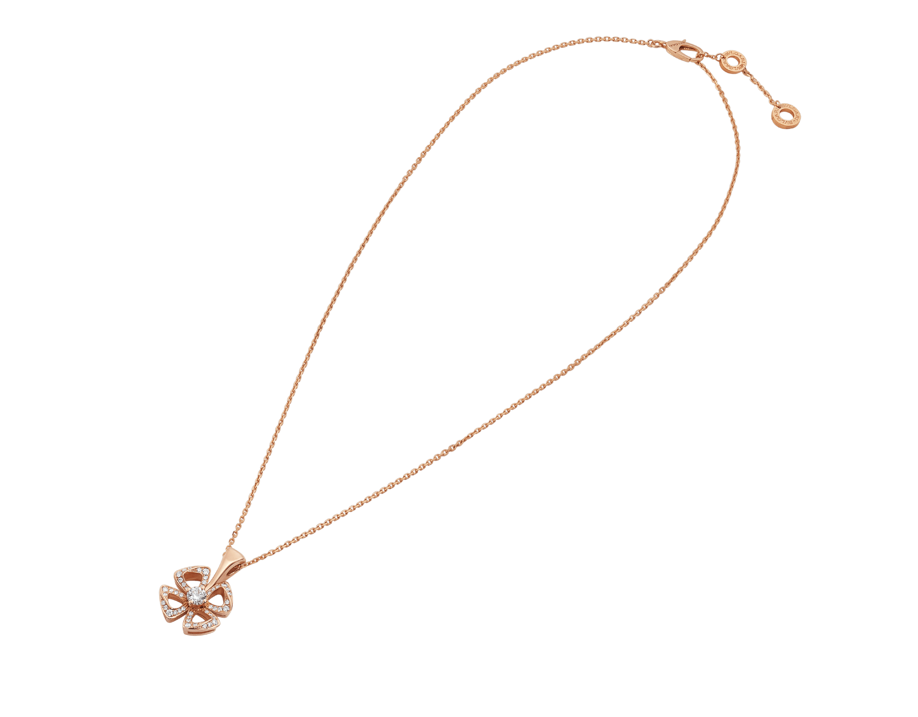 Fiorever 18 kt rose gold necklace set with a central brilliant-cut diamond (0.10 ct) and pavé diamonds (0.06 ct) 358156 image 2