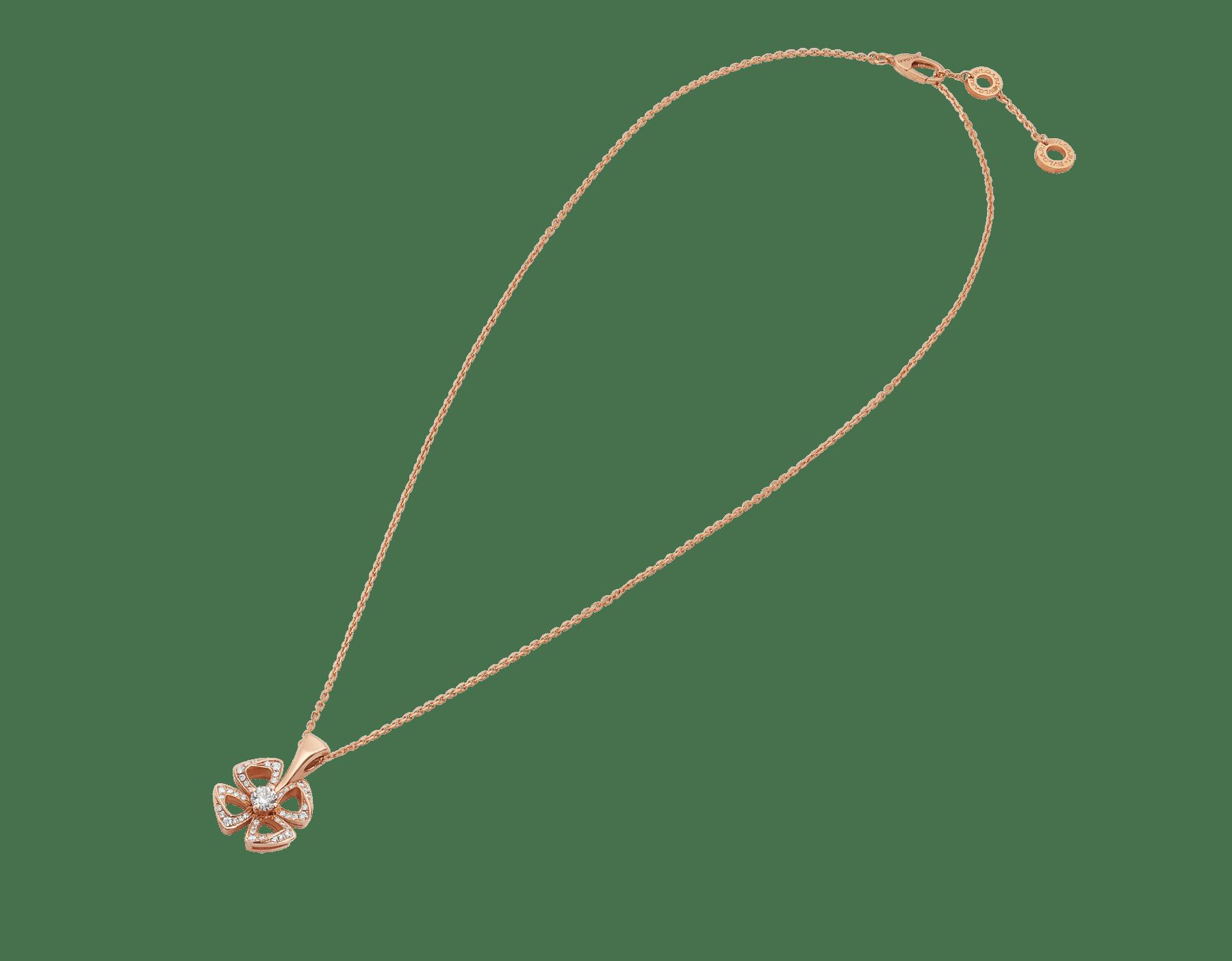 Collier Fiorever en or rose 18K serti d'un diamant taille brillant au centre (0,10ct) et pavé diamants (0,06ct) 358156 image 2