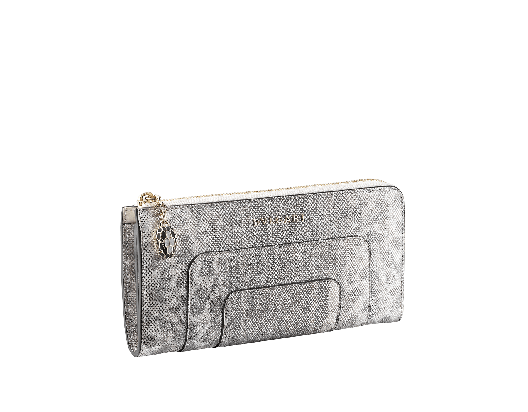 Serpenti Forever L-shaped zipped wallet in ruby red metallic karung skin and calf leather. Iconic snakehead zip puller in black and glitter silver enamel, with black enamel eyes SEA-WLT-MZP-SLIM-L-MK image 1