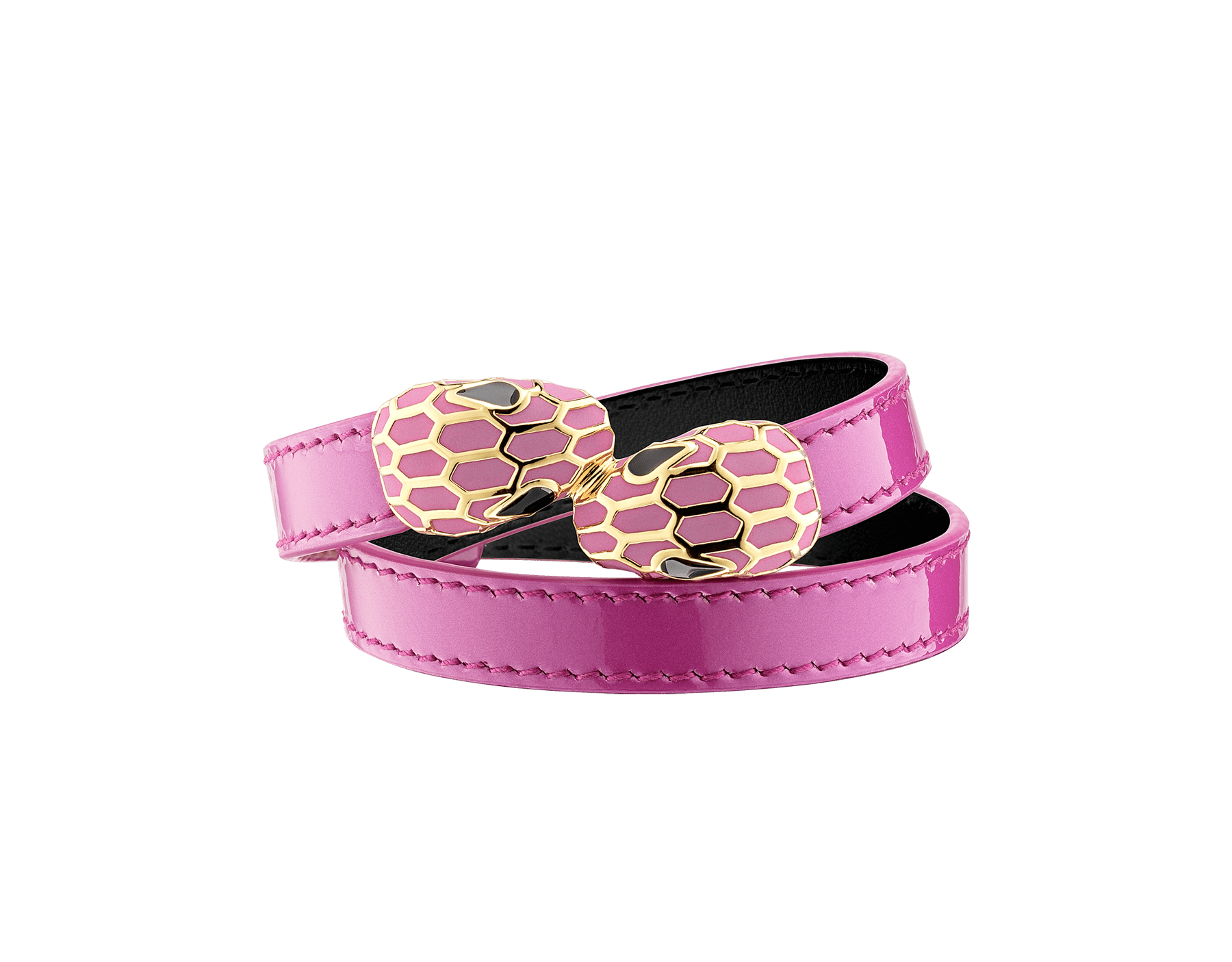 """Serpenti Forever"" multi-coiled bracelet in Magenta Spinel purple calf leather with a varnished and pearled effect. Gold plated brass tempting contraire snakehead décor enameled in full matte Magenta Spinel fuchsia, finished with black enamel eyes. Chinese New Year Special Edition MCSerp-VCL-MS image 3"