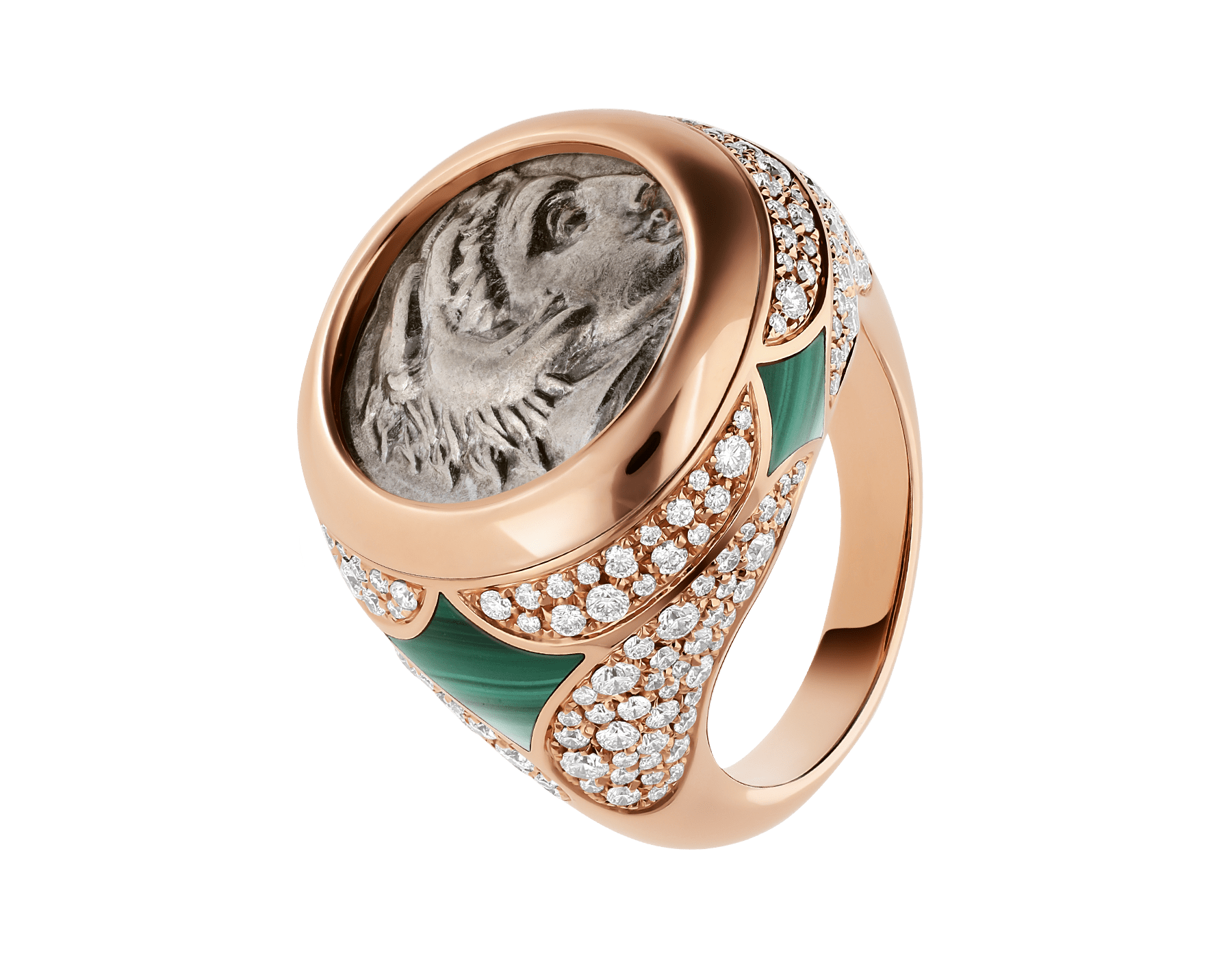 Monete 18 kt rose gold ring set with an ancient coin, malachite elements and pavé diamonds AN858468 image 1