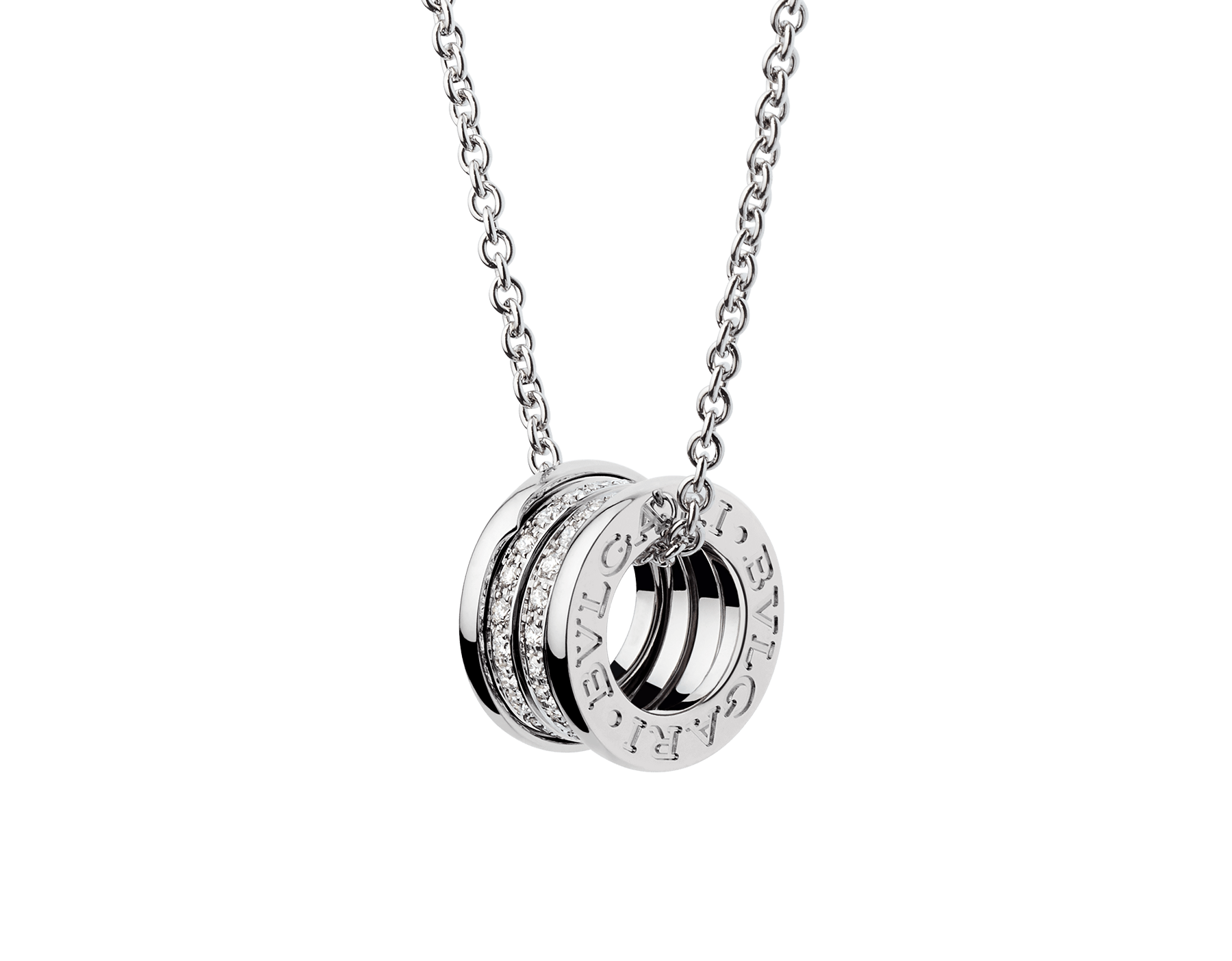 Con la emblemática espiral esculpida con un precioso pavé de diamantes alrededor de una cadena en oro blanco, el collar B.zero1 fusiona su distintivo diseño con la elegancia contemporánea. 352816 image 1