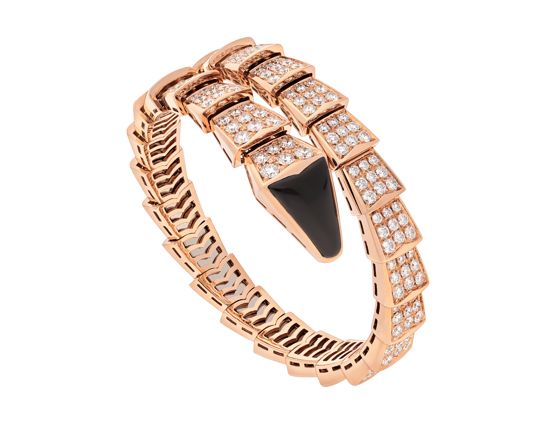 Serpenti one-coil bracelet in 18 kt rose gold, set with full pavé diamonds and an onyx element on the head. BR855196 image 1