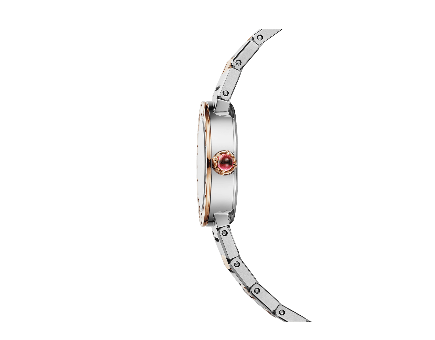BVLGARI BVLGARI LADY watch with stainless steel case, 18 kt rose gold bezel engraved with double logo, white mother-of-pearl dial, diamond indexes and 18 kt rose gold and stainless steel bracelet 102970 image 2