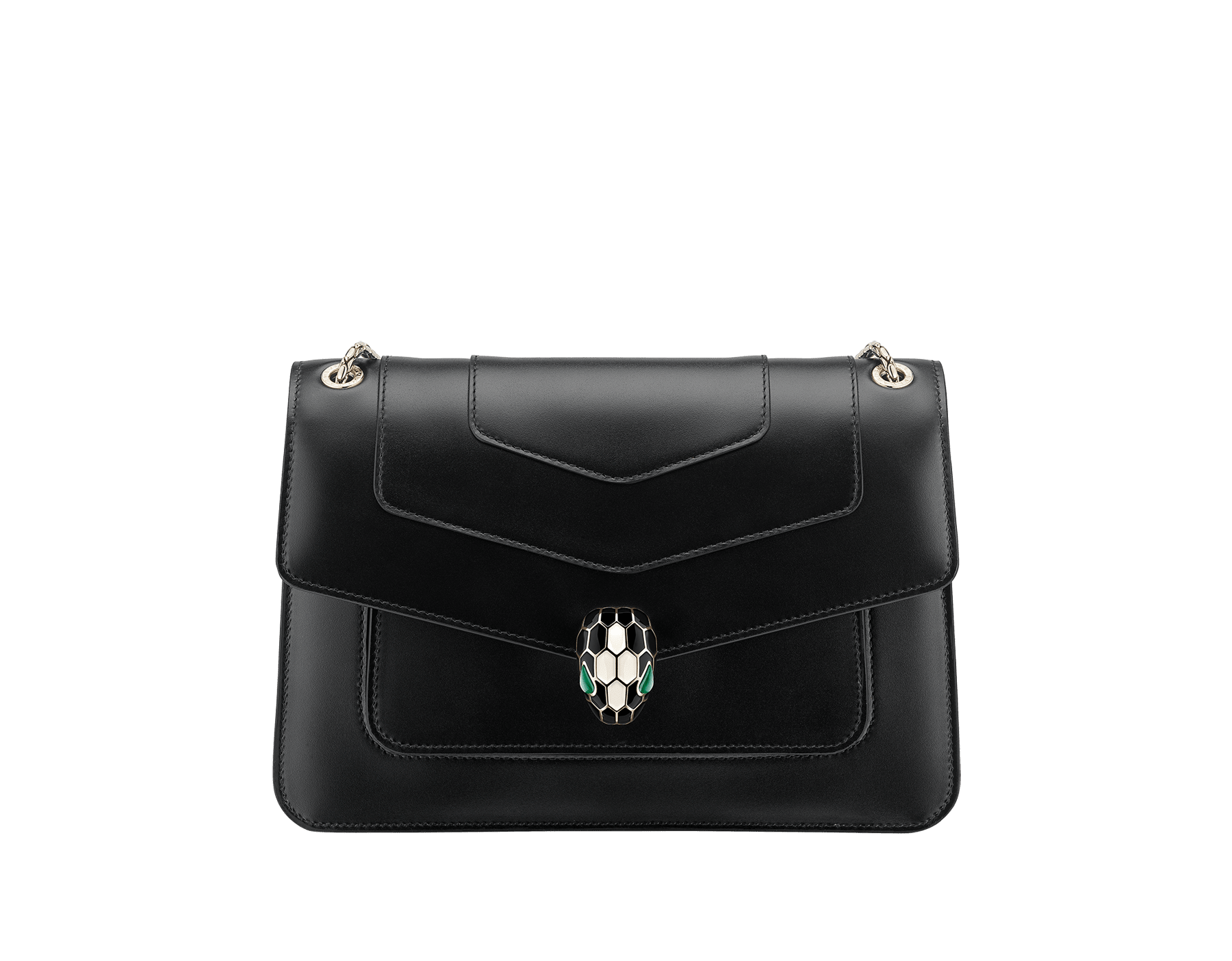 """""""Serpenti Forever"""" crossbody bag in black calf leather. Iconic snakehead closure in light gold plated brass enriched with black and white agate enamel and green malachite eyes. 1077-CL image 1"""